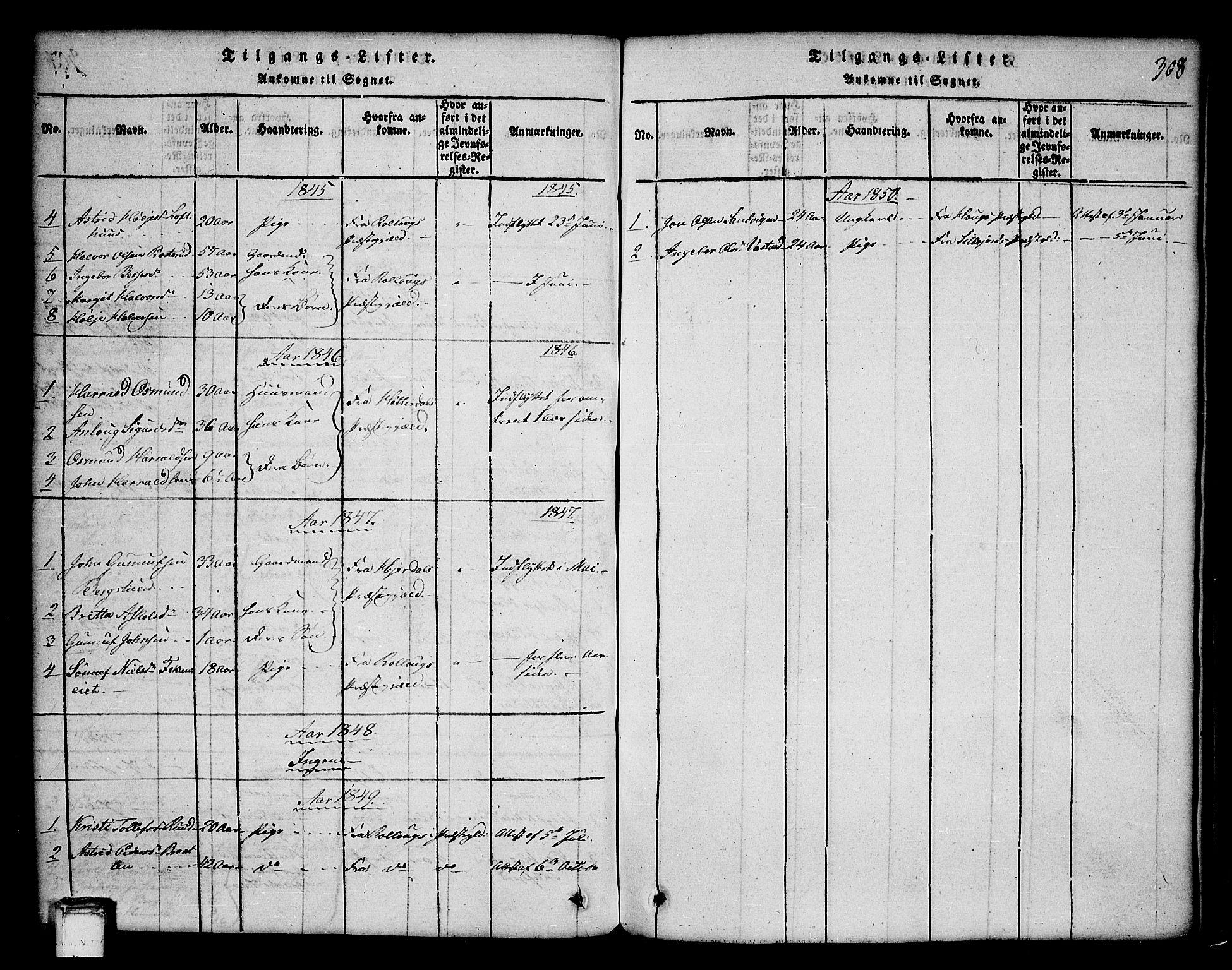 SAKO, Tinn kirkebøker, G/Ga/L0001: Klokkerbok nr. I 1, 1815-1850, s. 308