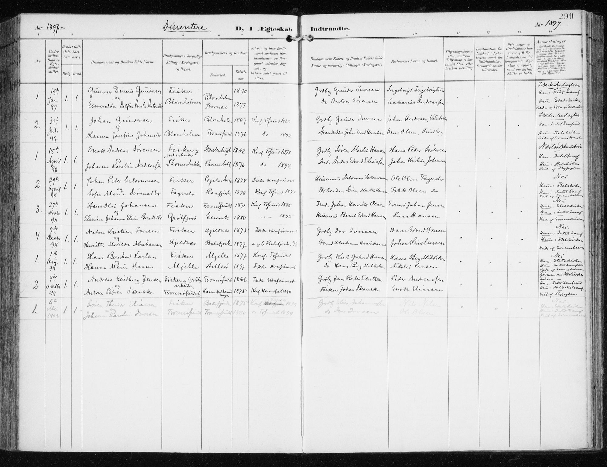 SATØ, Tromsøysund sokneprestkontor, G/Ga/L0006kirke: Ministerialbok nr. 6, 1897-1906, s. 299