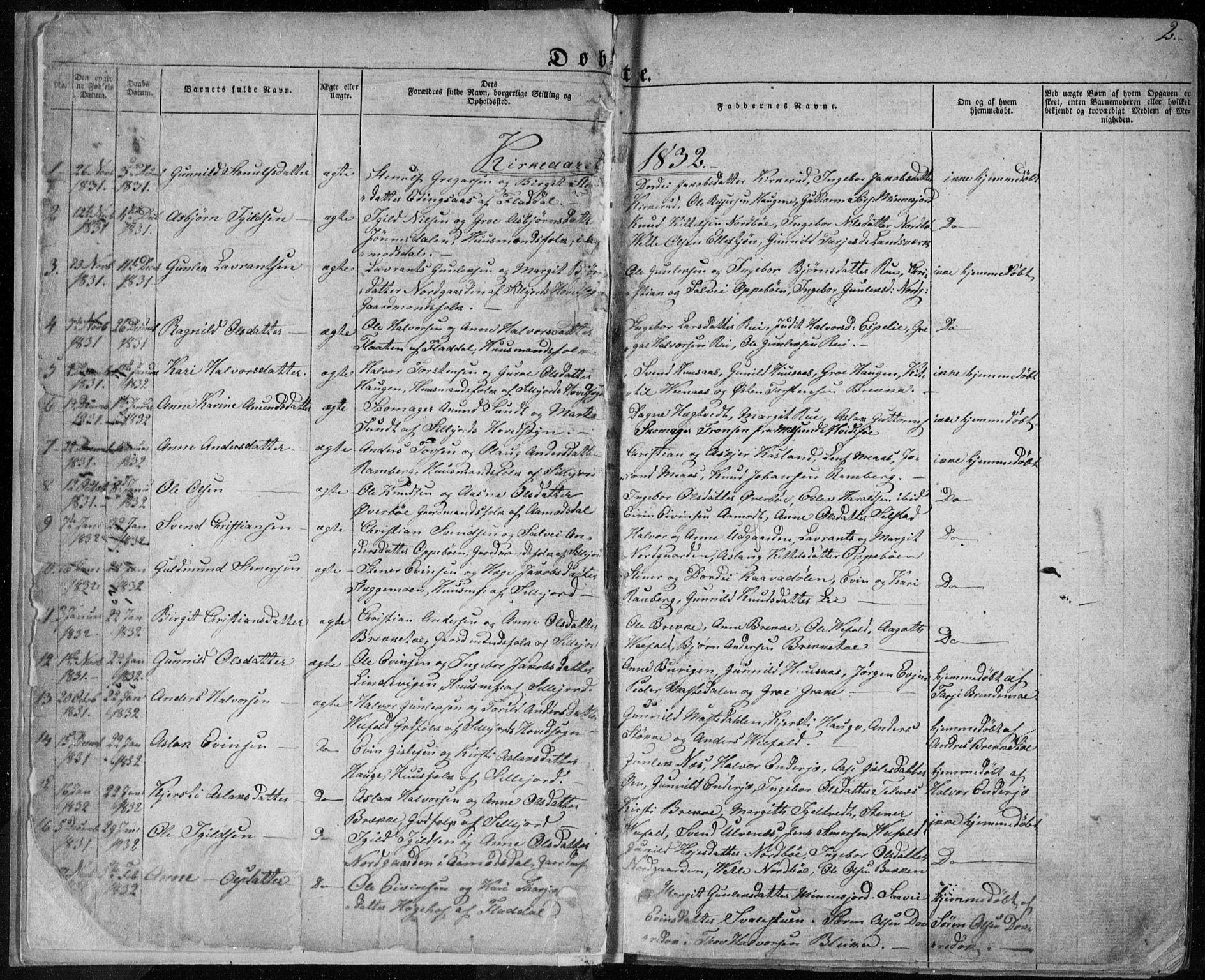 SAKO, Seljord kirkebøker, F/Fa/L0011: Ministerialbok nr. I 11, 1831-1849, s. 2