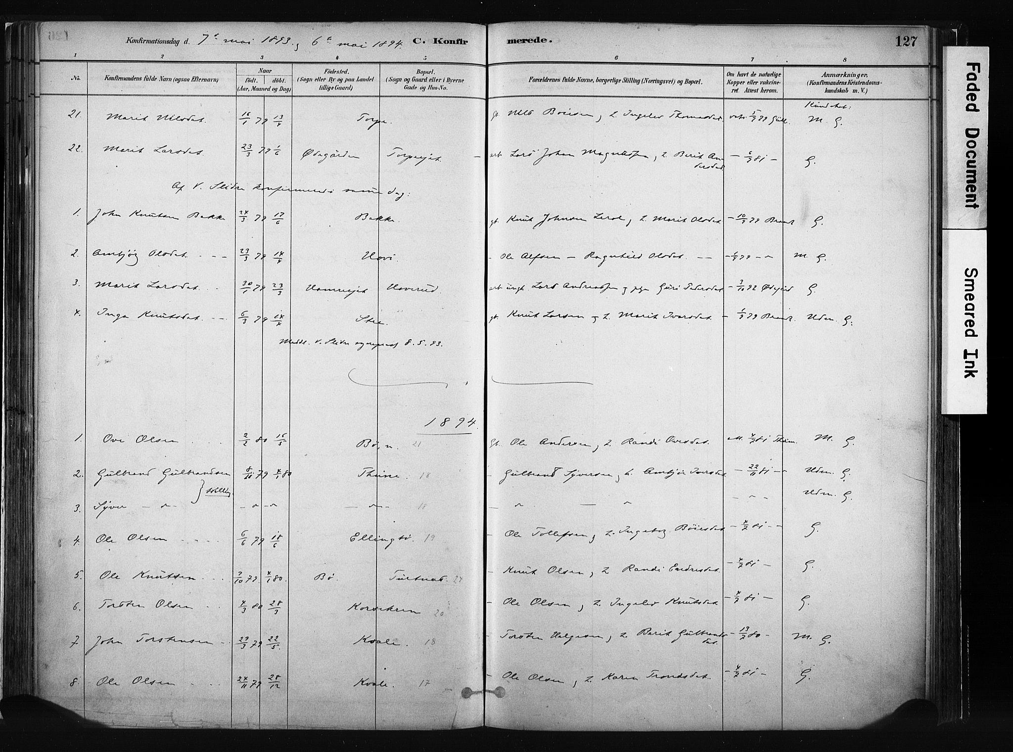 SAH, Vang prestekontor, Valdres, Ministerialbok nr. 8, 1882-1910, s. 127