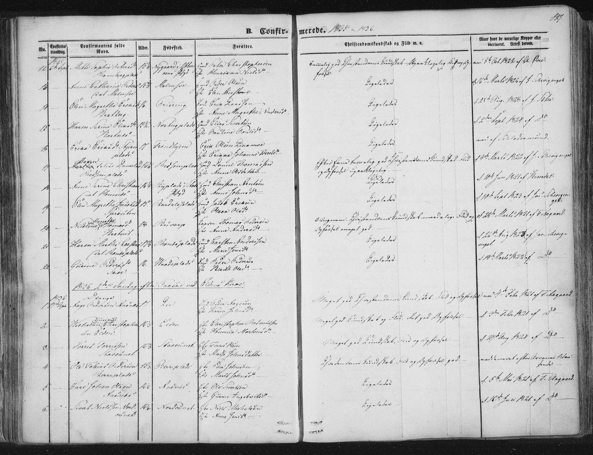 SAT, Ministerialprotokoller, klokkerbøker og fødselsregistre - Nord-Trøndelag, 741/L0392: Ministerialbok nr. 741A06, 1836-1848, s. 127