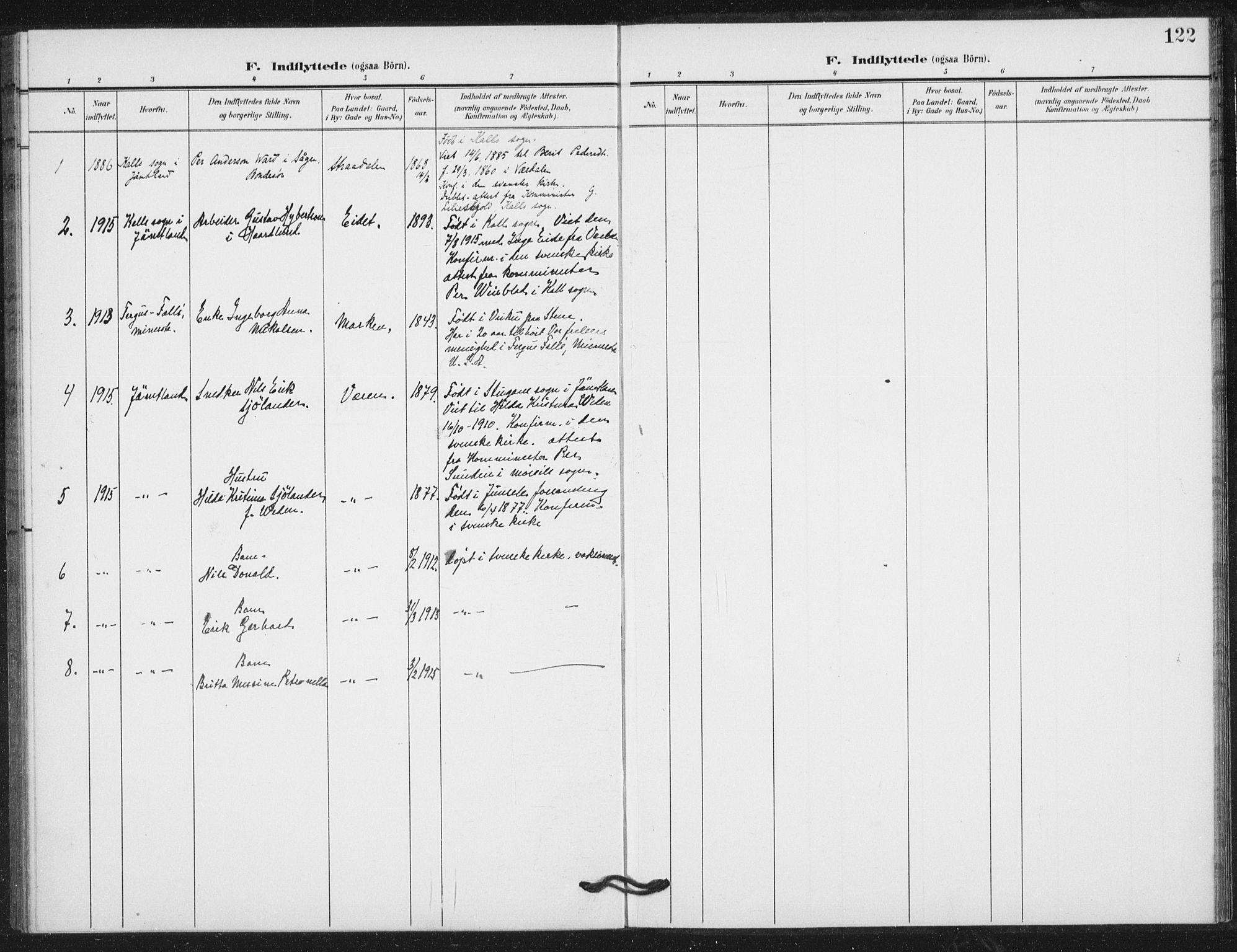 SAT, Ministerialprotokoller, klokkerbøker og fødselsregistre - Nord-Trøndelag, 724/L0264: Ministerialbok nr. 724A02, 1908-1915, s. 122