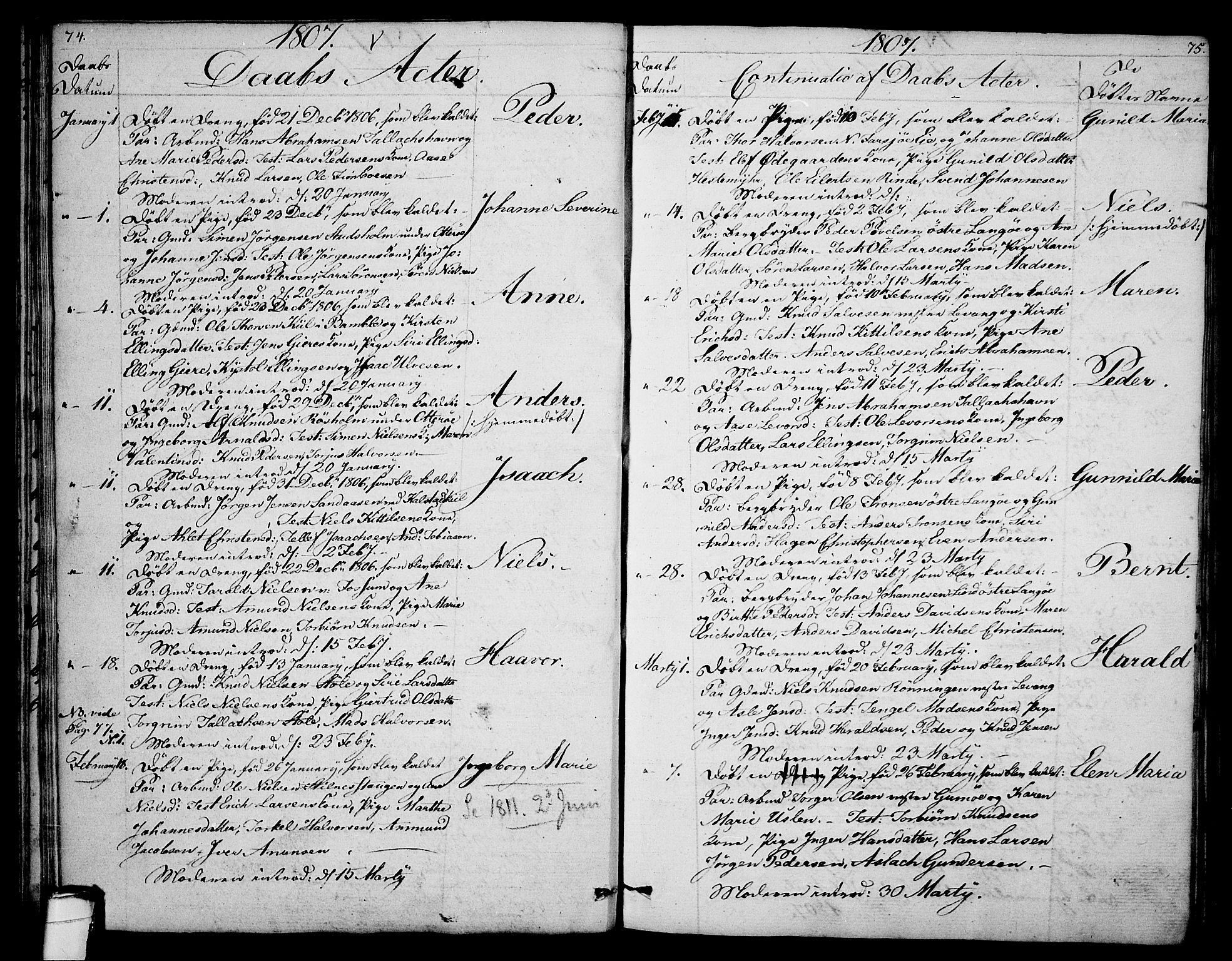 SAKO, Sannidal kirkebøker, F/Fa/L0003: Ministerialbok nr. 3, 1803-1813, s. 74-75