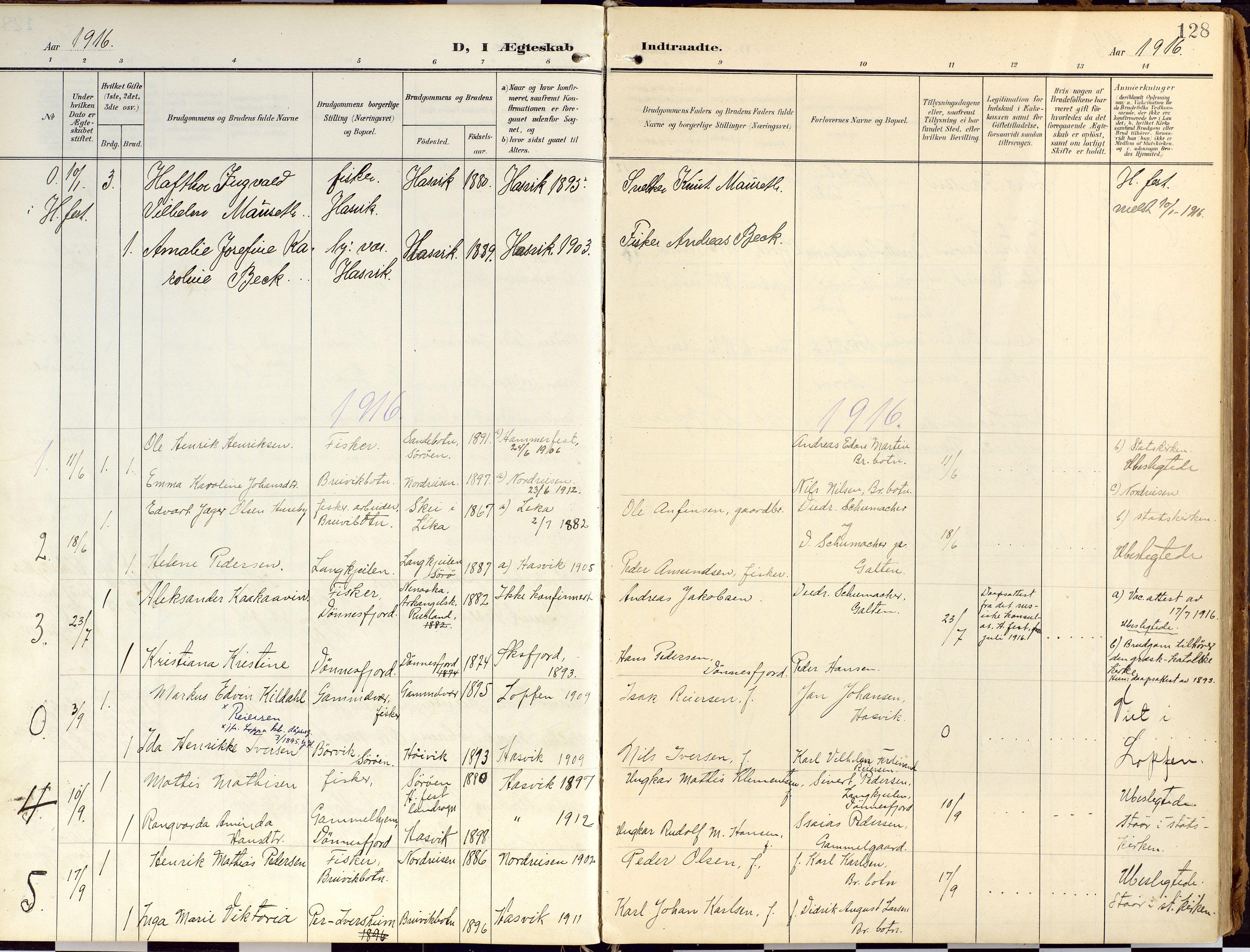 SATØ, Loppa sokneprestkontor, H/Ha/L0010kirke: Ministerialbok nr. 10, 1907-1922, s. 128