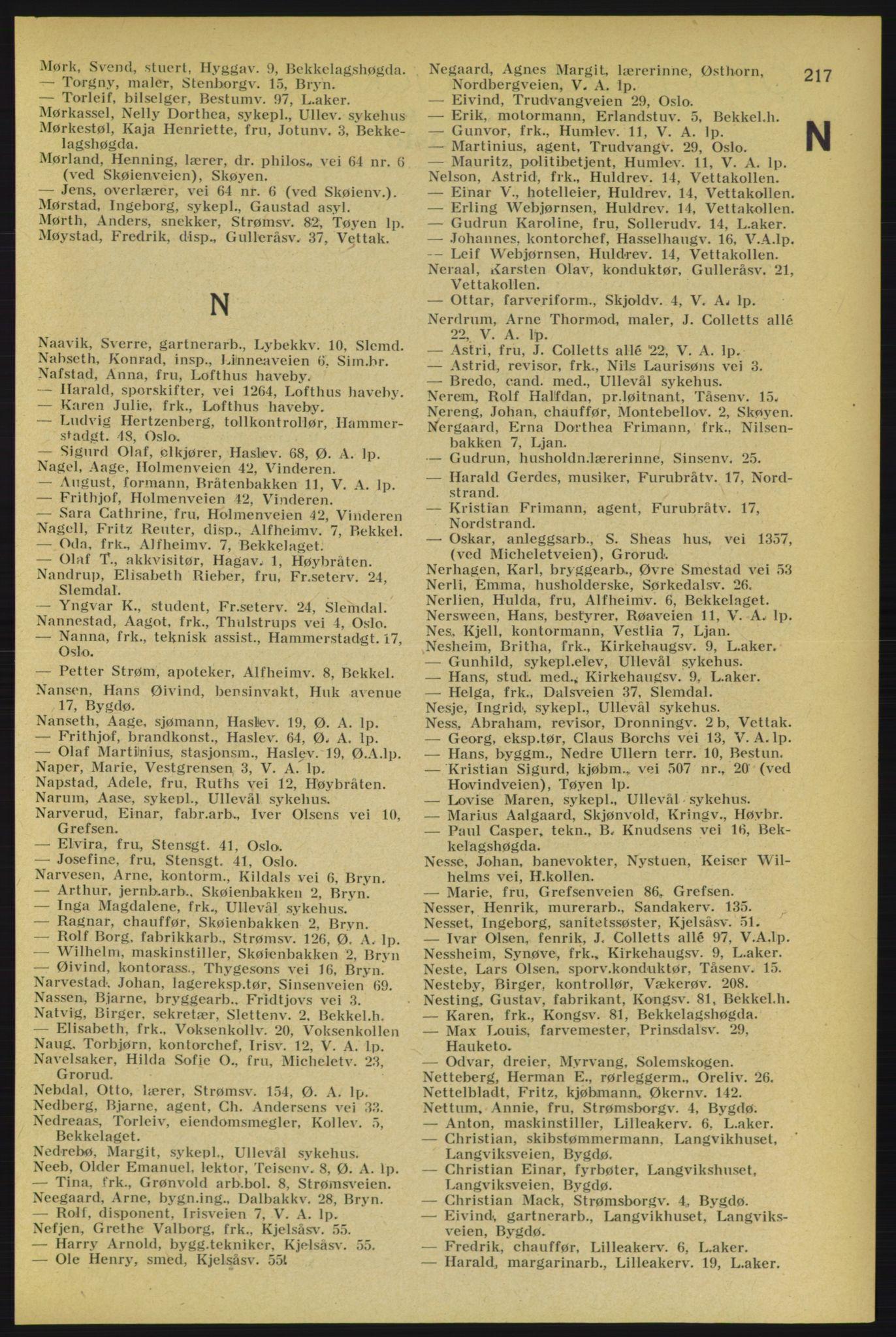 PUBL, Aker adressebok/adressekalender, 1934-1935, s. 217