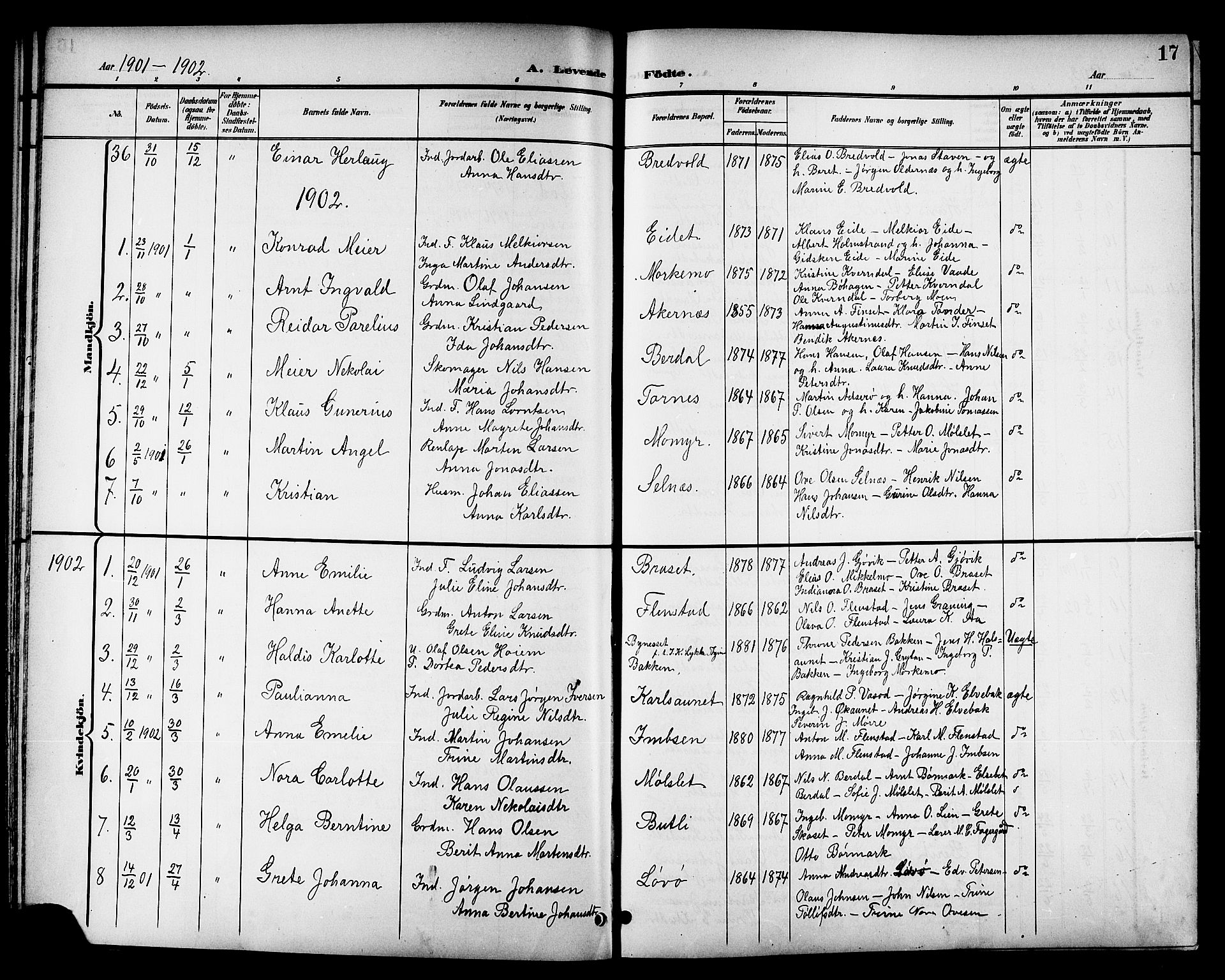 SAT, Ministerialprotokoller, klokkerbøker og fødselsregistre - Sør-Trøndelag, 655/L0688: Klokkerbok nr. 655C04, 1899-1922, s. 17