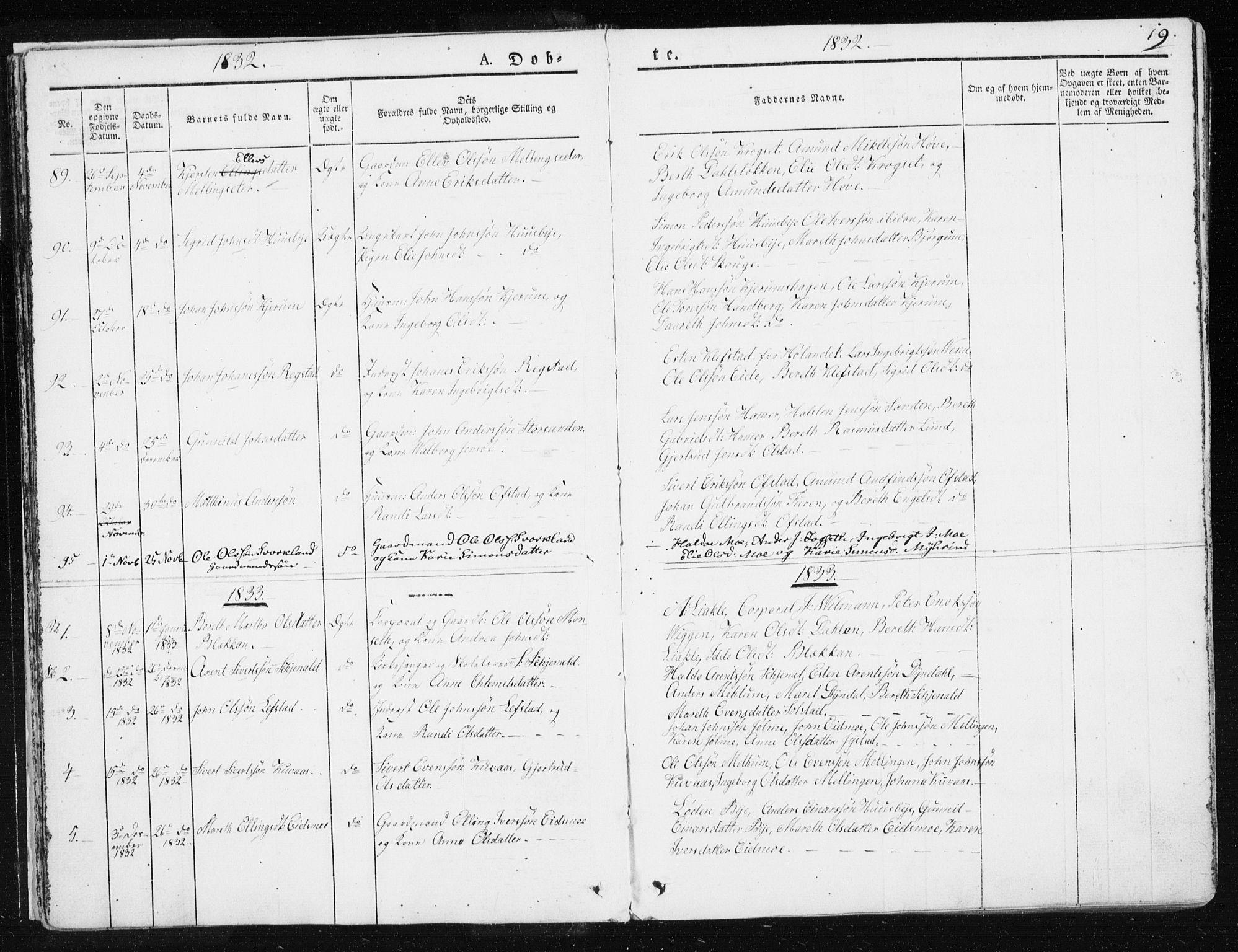 SAT, Ministerialprotokoller, klokkerbøker og fødselsregistre - Sør-Trøndelag, 665/L0771: Ministerialbok nr. 665A06, 1830-1856, s. 19