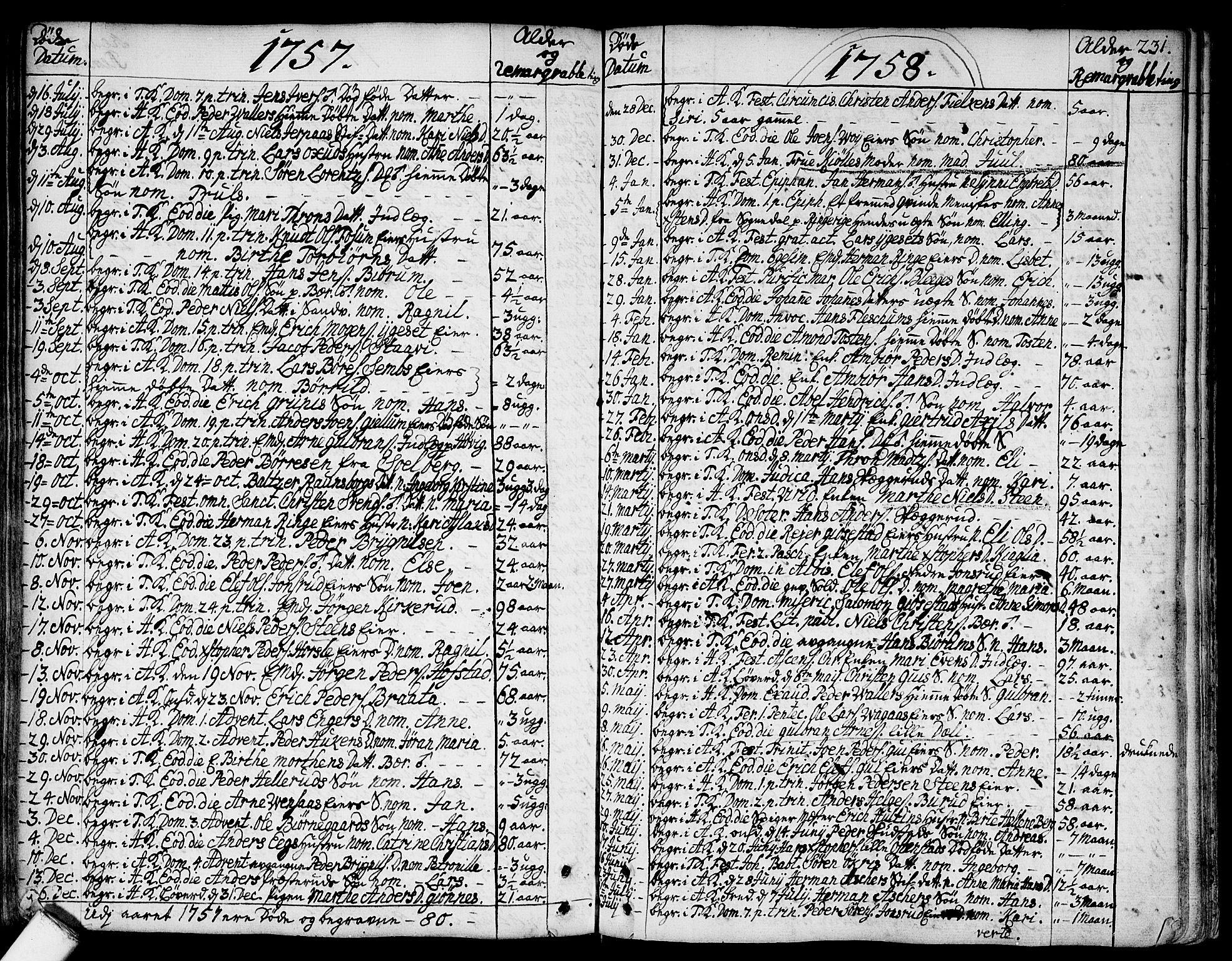 SAO, Asker prestekontor Kirkebøker, F/Fa/L0002: Ministerialbok nr. I 2, 1733-1766, s. 231