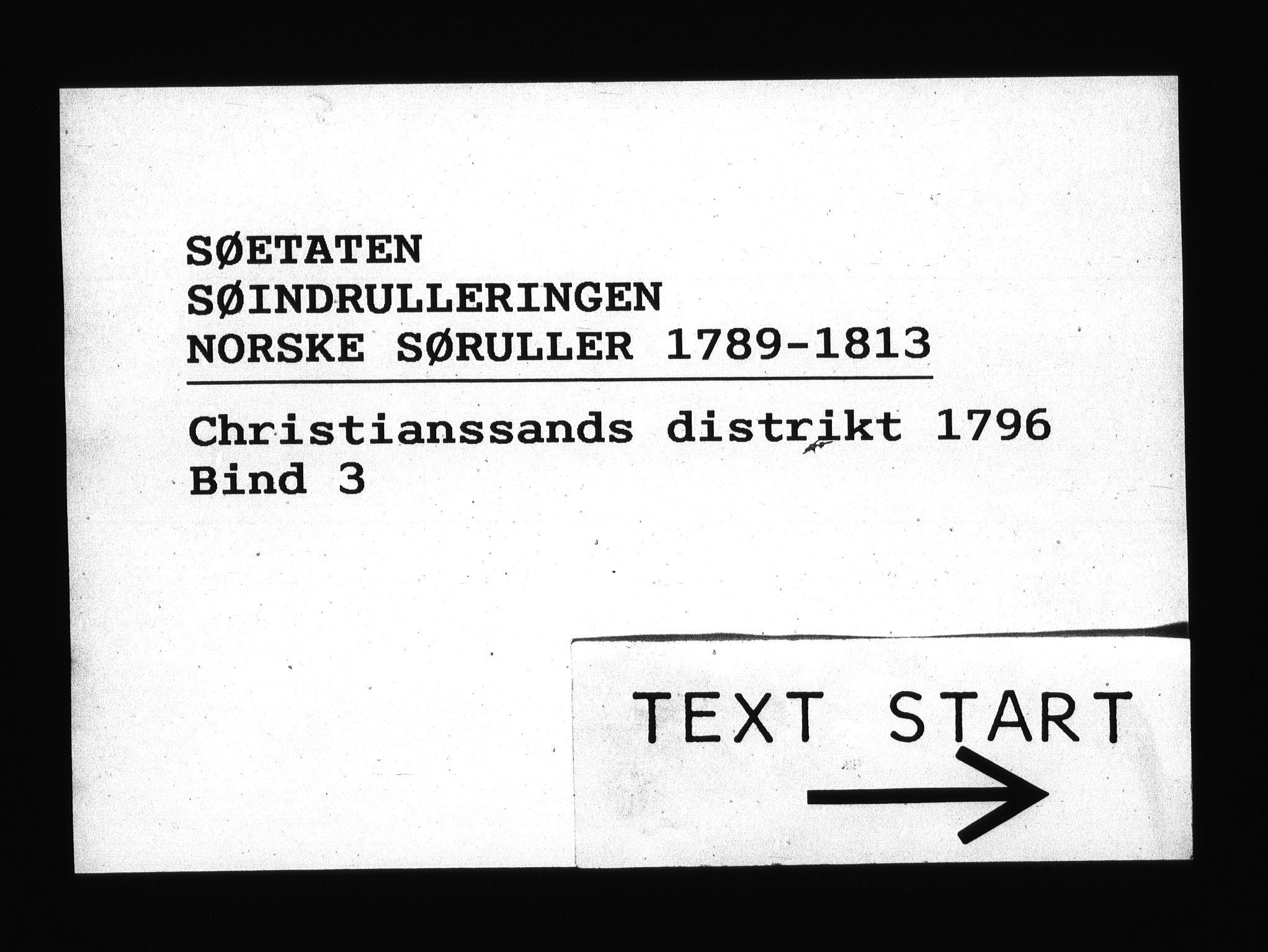 RA, Sjøetaten, F/L0028: Kristiansand distrikt, bind 3, 1796