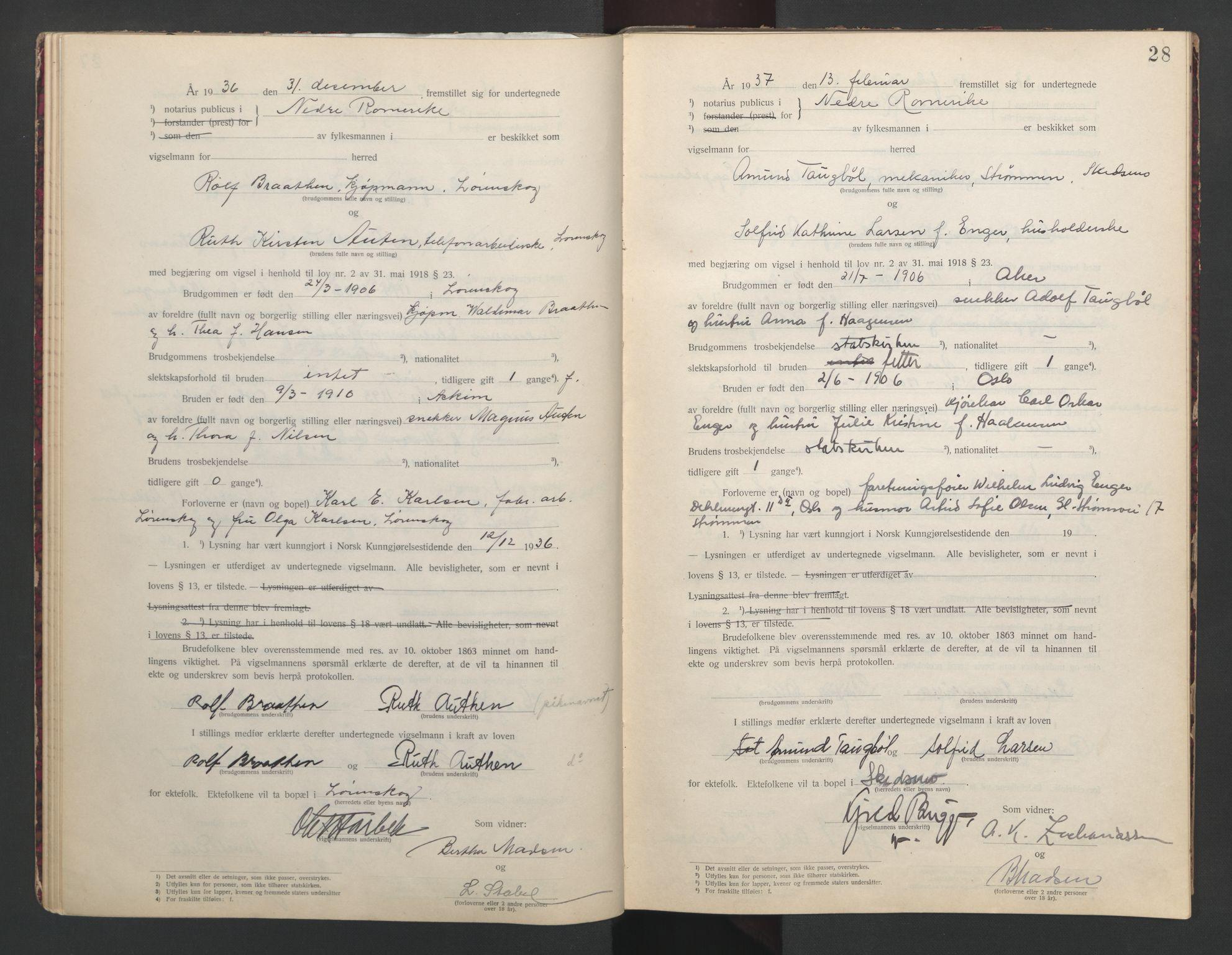 SAO, Nedre Romerike sorenskriveri, L/Lb/L0002: Vigselsbok - borgerlige vielser, 1935-1942, s. 28
