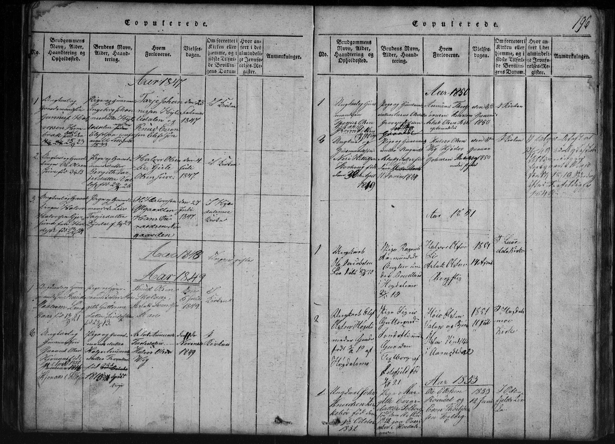 SAKO, Rauland kirkebøker, G/Gb/L0001: Klokkerbok nr. II 1, 1815-1886, s. 196