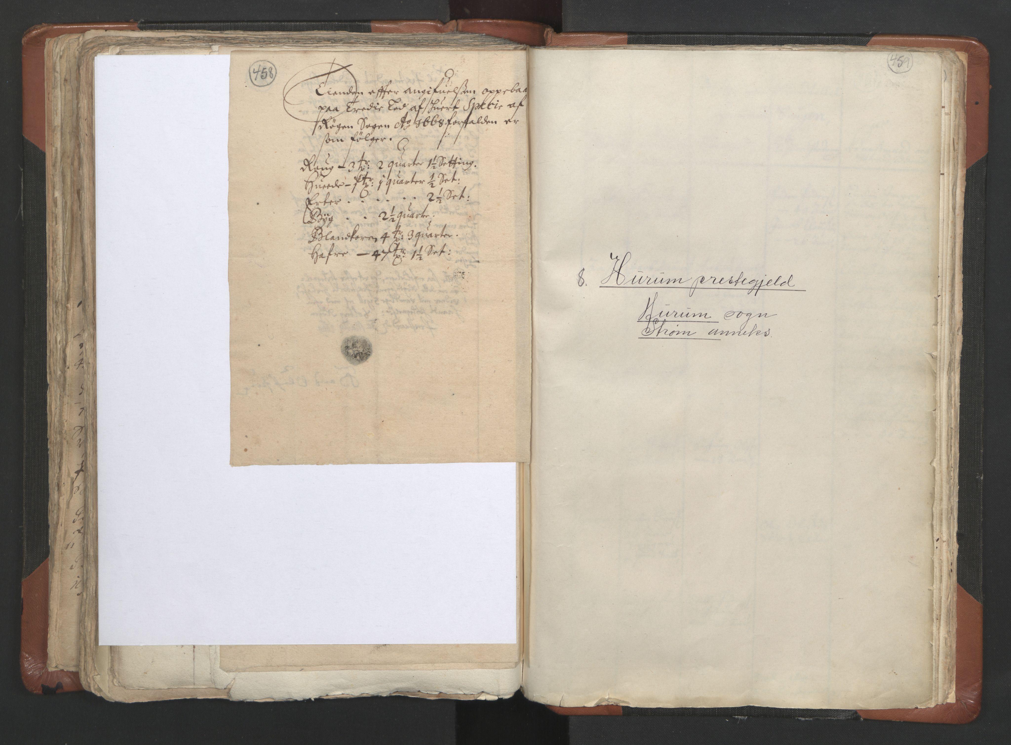 RA, Sogneprestenes manntall 1664-1666, nr. 9: Bragernes prosti, 1664-1666, s. 458-459