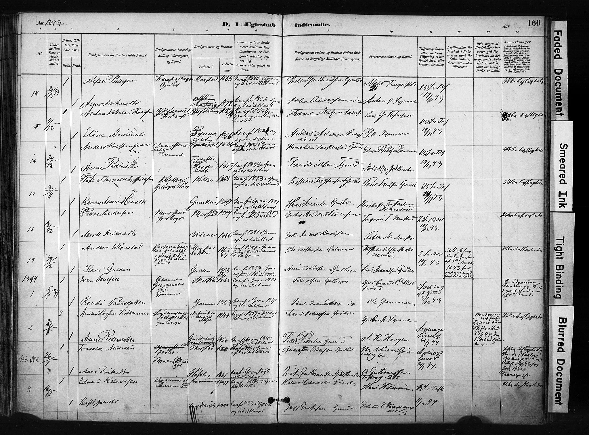 SAH, Gran prestekontor, Ministerialbok nr. 17, 1889-1897, s. 166