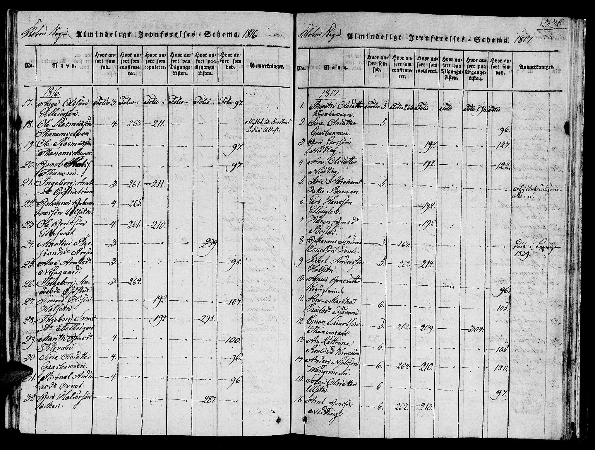 SAT, Ministerialprotokoller, klokkerbøker og fødselsregistre - Sør-Trøndelag, 618/L0450: Klokkerbok nr. 618C01, 1816-1865, s. 336