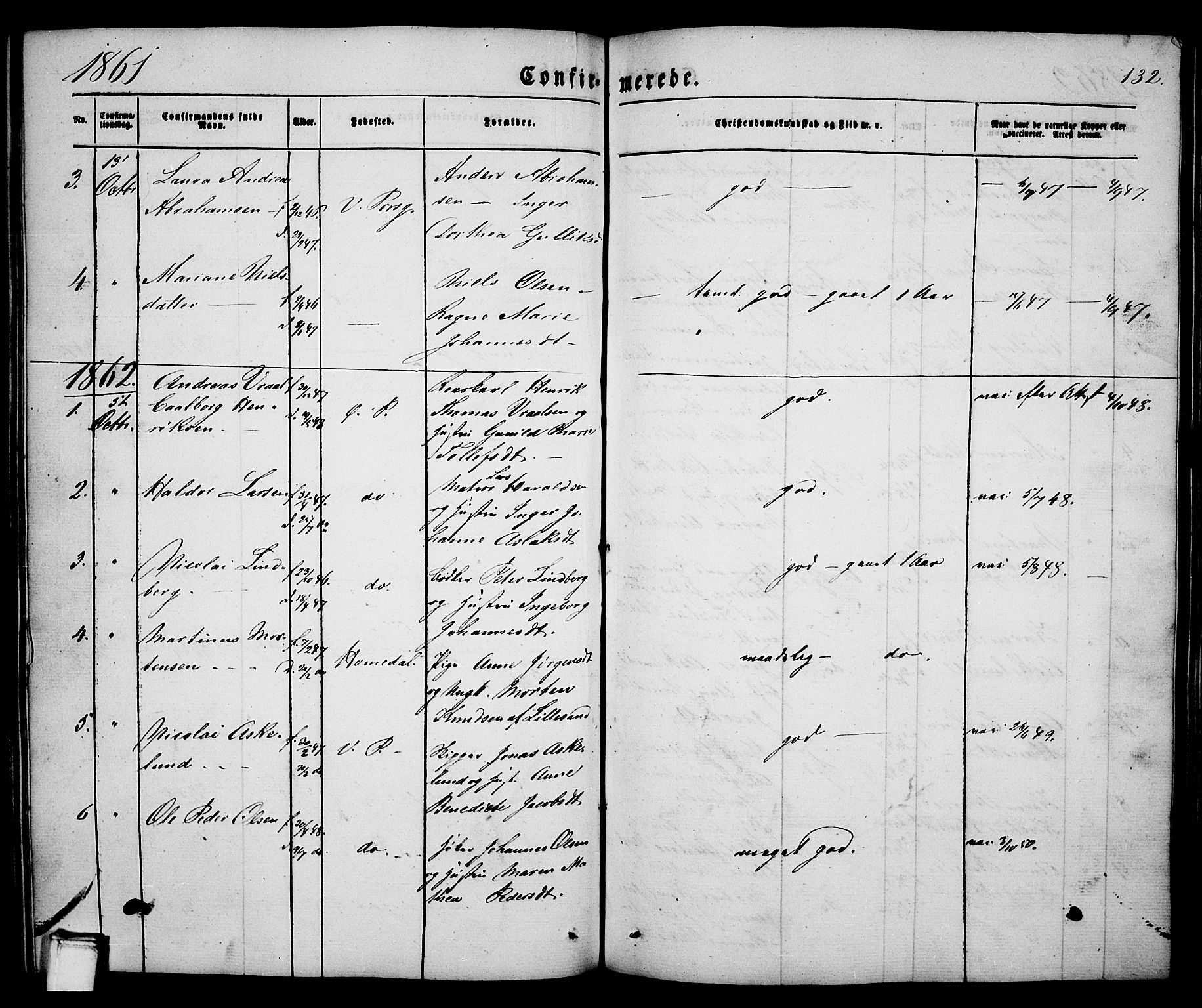 SAKO, Porsgrunn kirkebøker , G/Ga/L0002: Klokkerbok nr. I 2, 1847-1877, s. 132