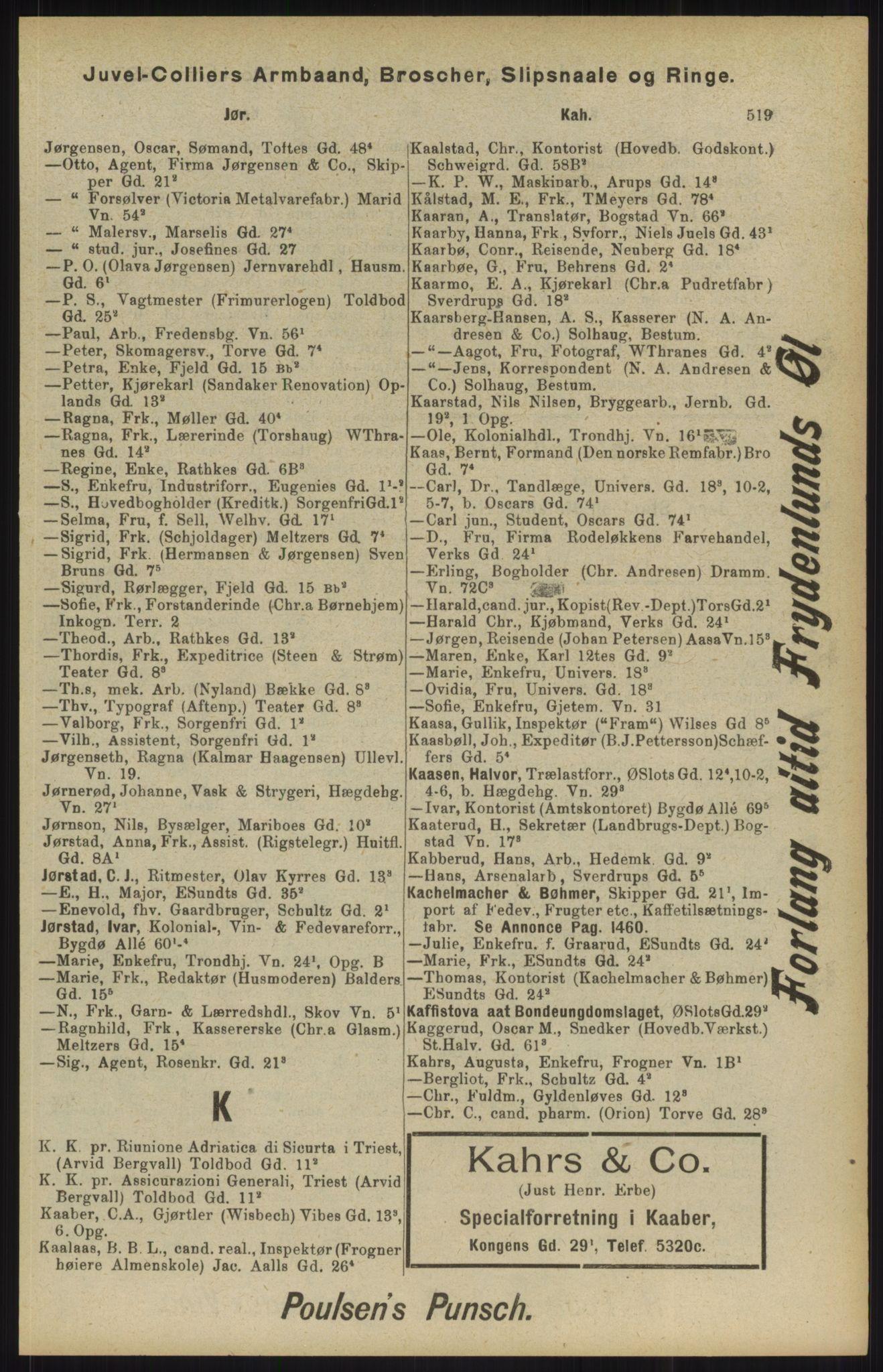 RA, Kristiania adressebok (publikasjon)*, 1904, s. 519