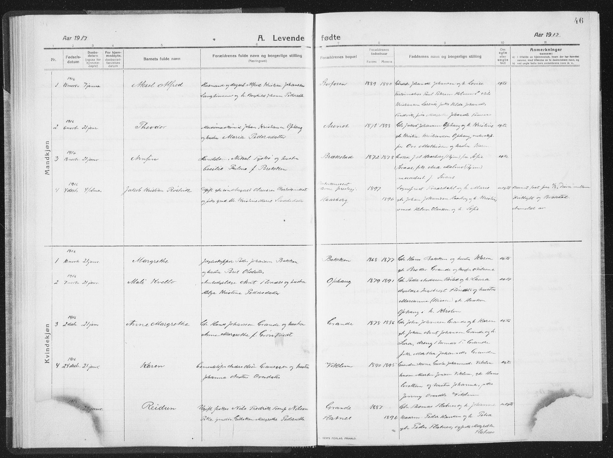SAT, Ministerialprotokoller, klokkerbøker og fødselsregistre - Sør-Trøndelag, 659/L0747: Klokkerbok nr. 659C04, 1913-1938, s. 46