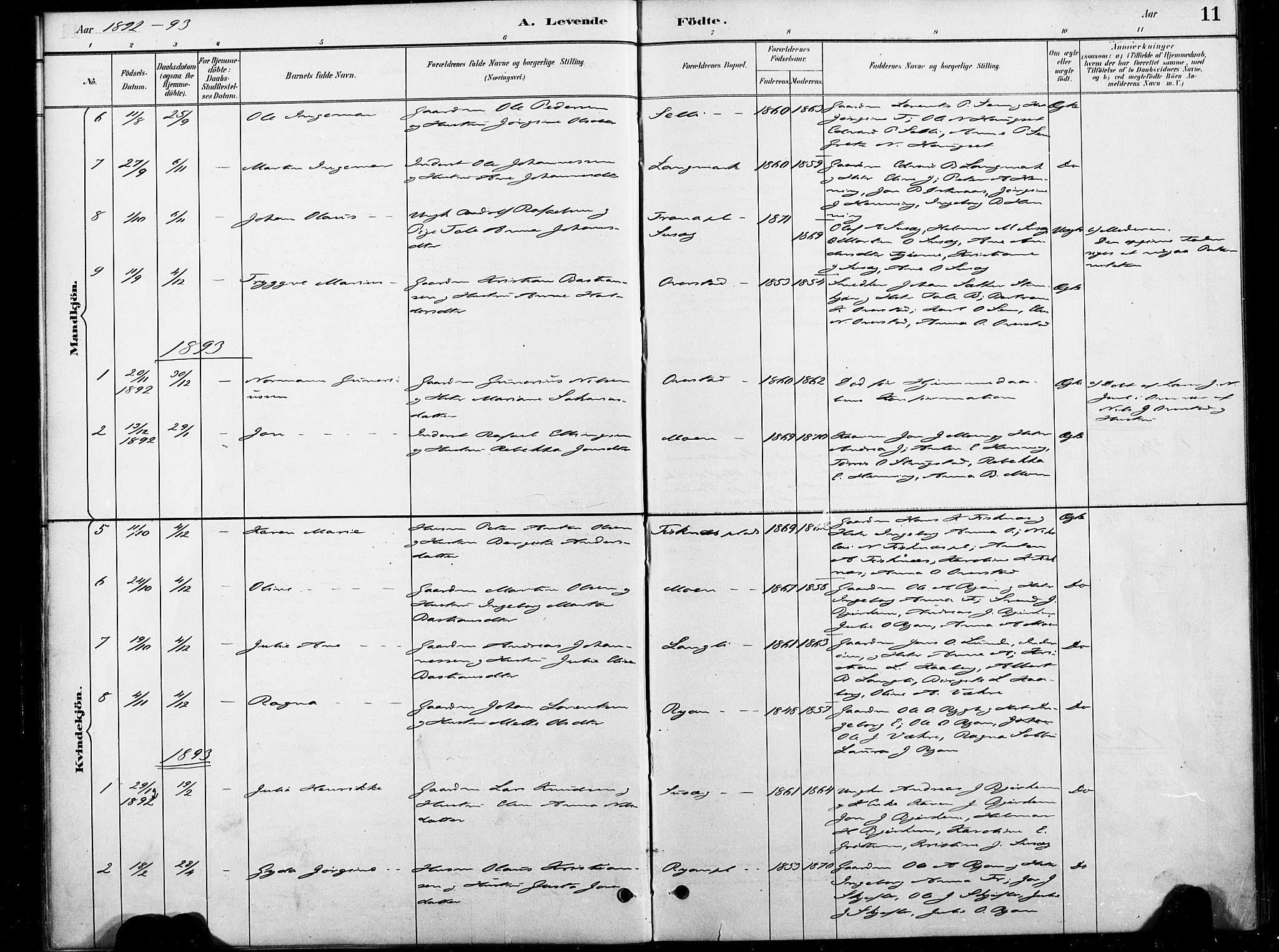 SAT, Ministerialprotokoller, klokkerbøker og fødselsregistre - Nord-Trøndelag, 738/L0364: Ministerialbok nr. 738A01, 1884-1902, s. 11