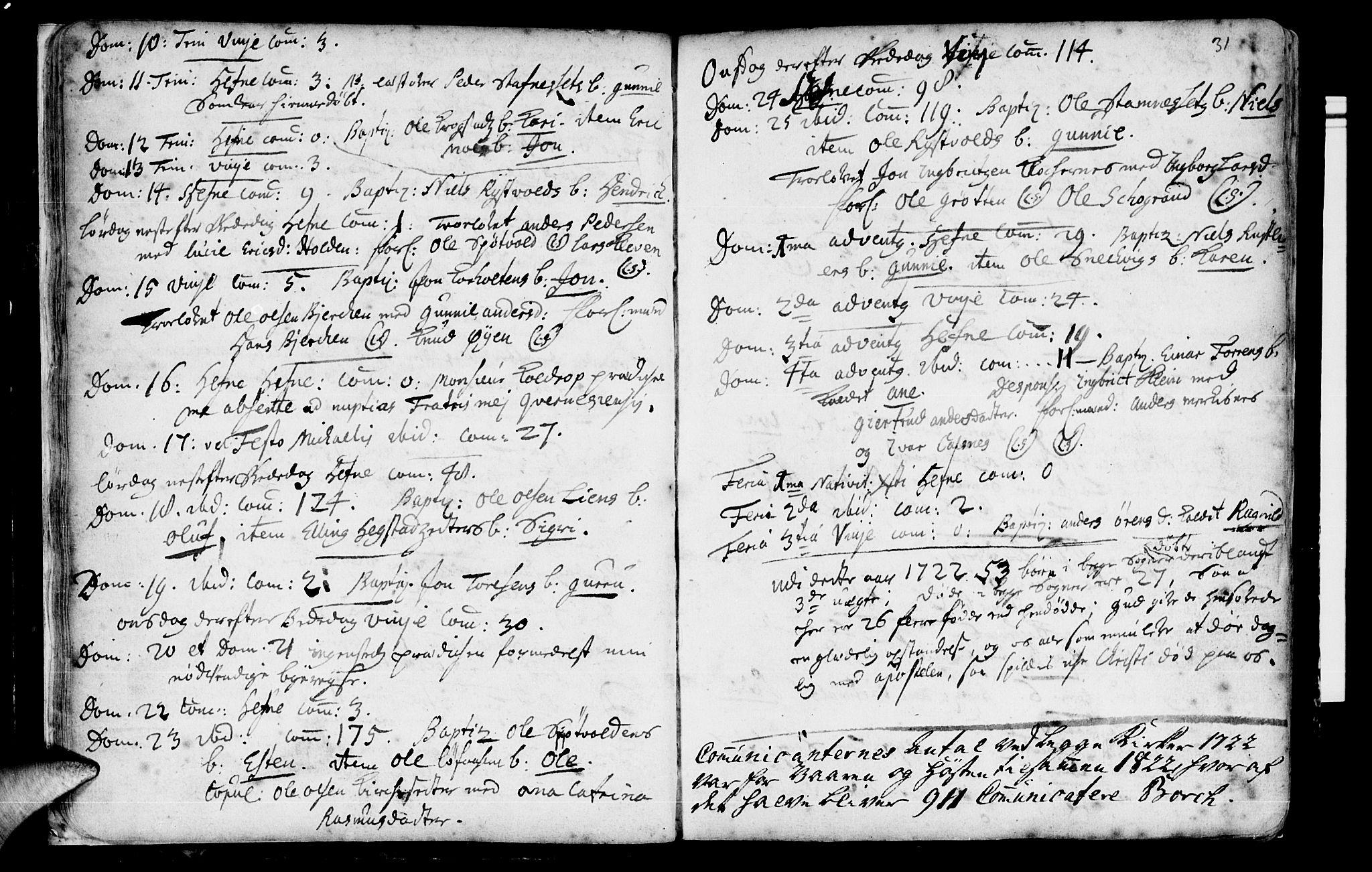SAT, Ministerialprotokoller, klokkerbøker og fødselsregistre - Sør-Trøndelag, 630/L0488: Ministerialbok nr. 630A01, 1717-1756, s. 30-31