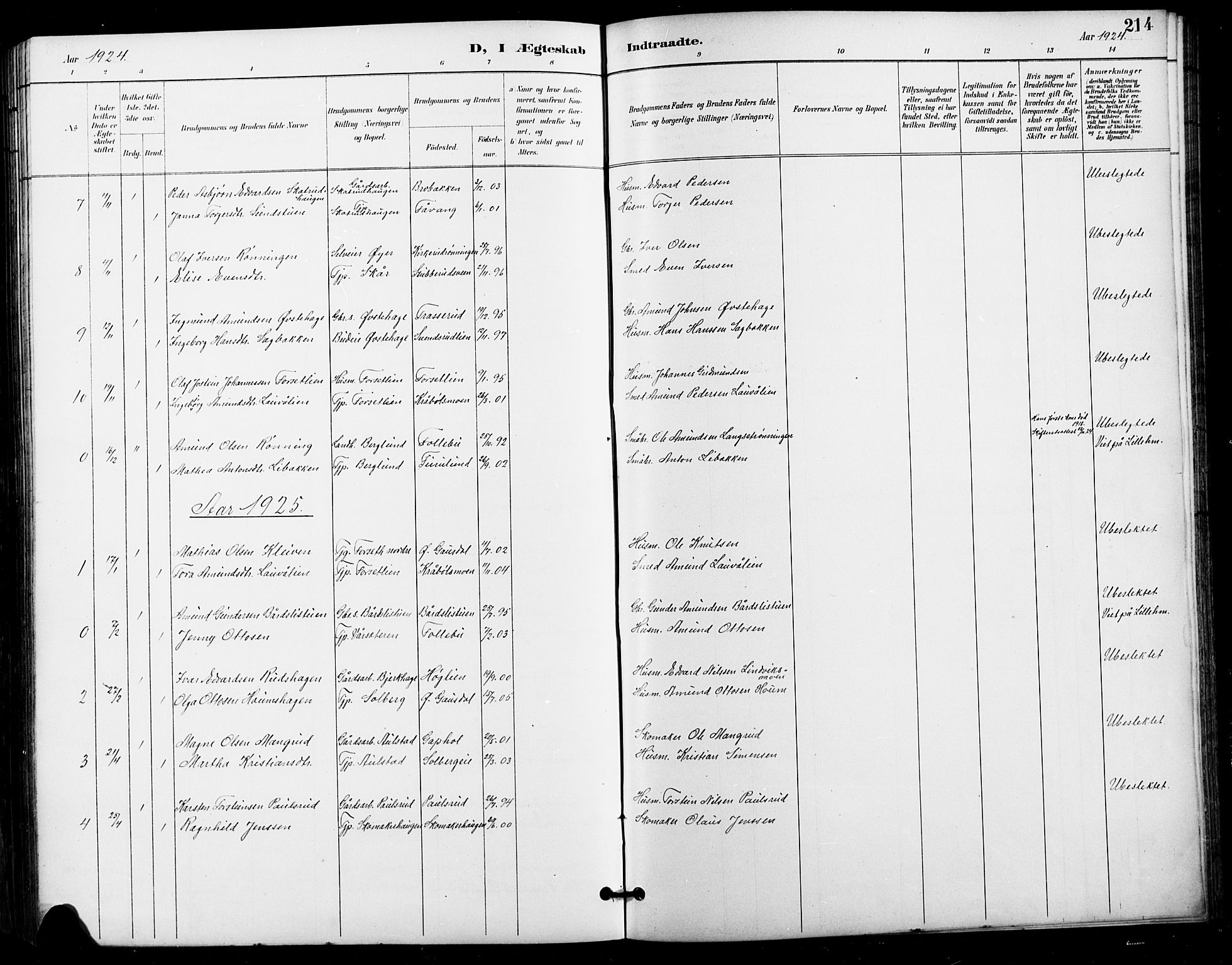 SAH, Vestre Gausdal prestekontor, Klokkerbok nr. 3, 1896-1925, s. 214