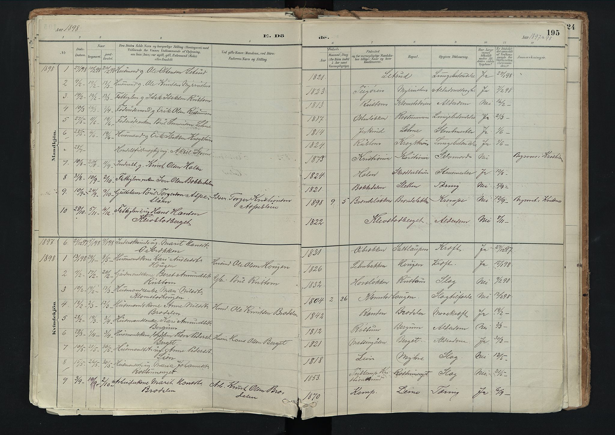SAH, Nord-Fron prestekontor, Ministerialbok nr. 3, 1884-1914, s. 195