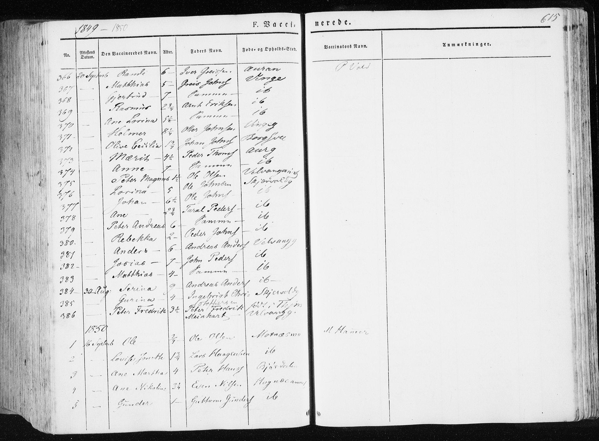 SAT, Ministerialprotokoller, klokkerbøker og fødselsregistre - Nord-Trøndelag, 709/L0074: Ministerialbok nr. 709A14, 1845-1858, s. 615