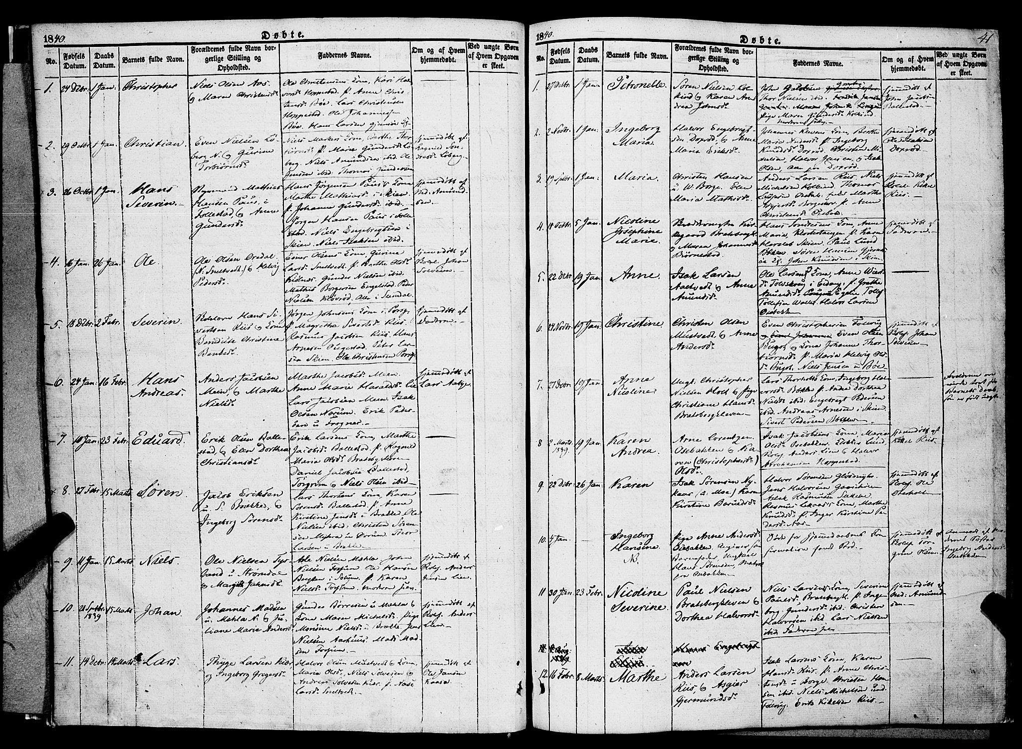 SAKO, Gjerpen kirkebøker, F/Fa/L0007a: Ministerialbok nr. 7A, 1834-1857, s. 41