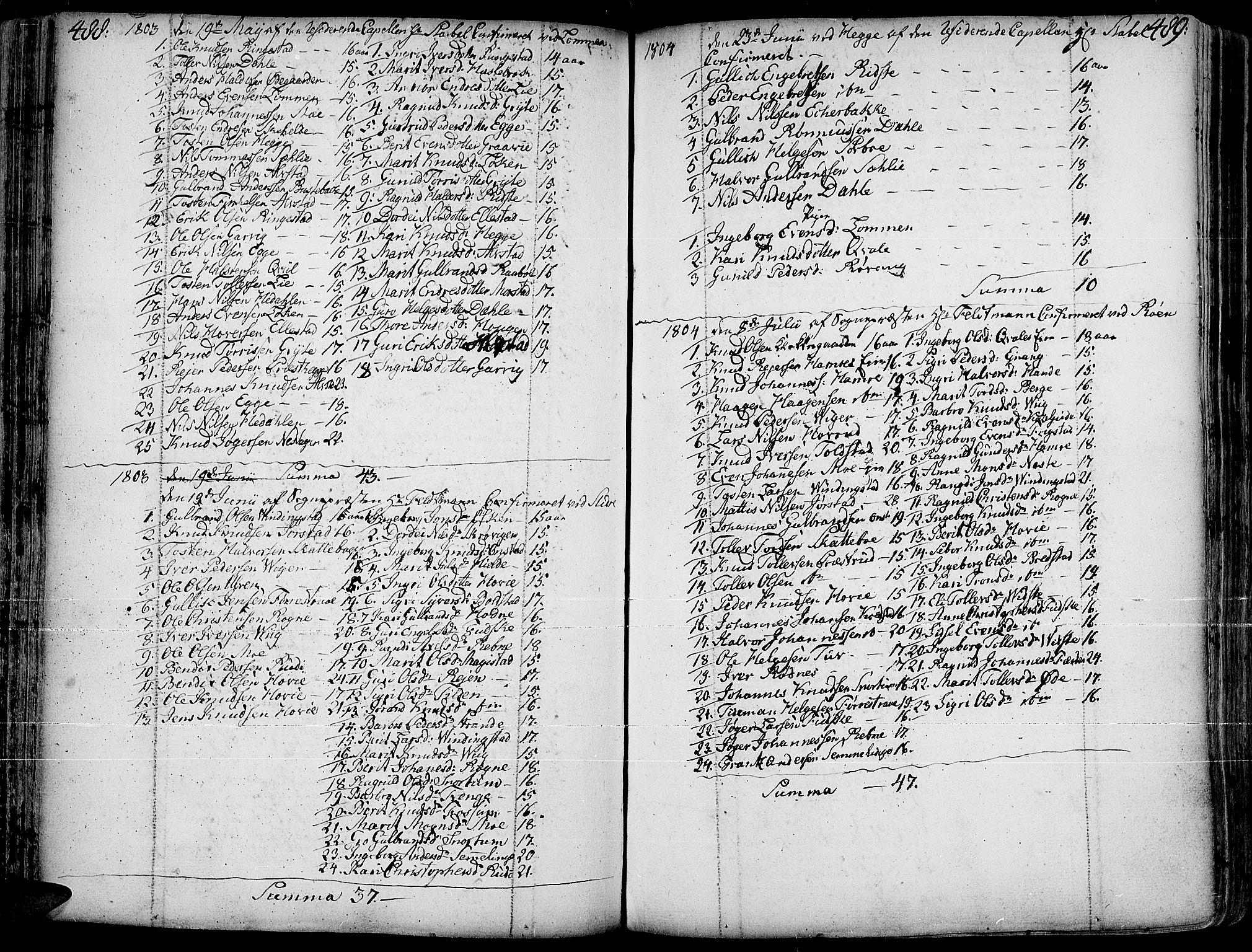 SAH, Slidre prestekontor, Ministerialbok nr. 1, 1724-1814, s. 488-489