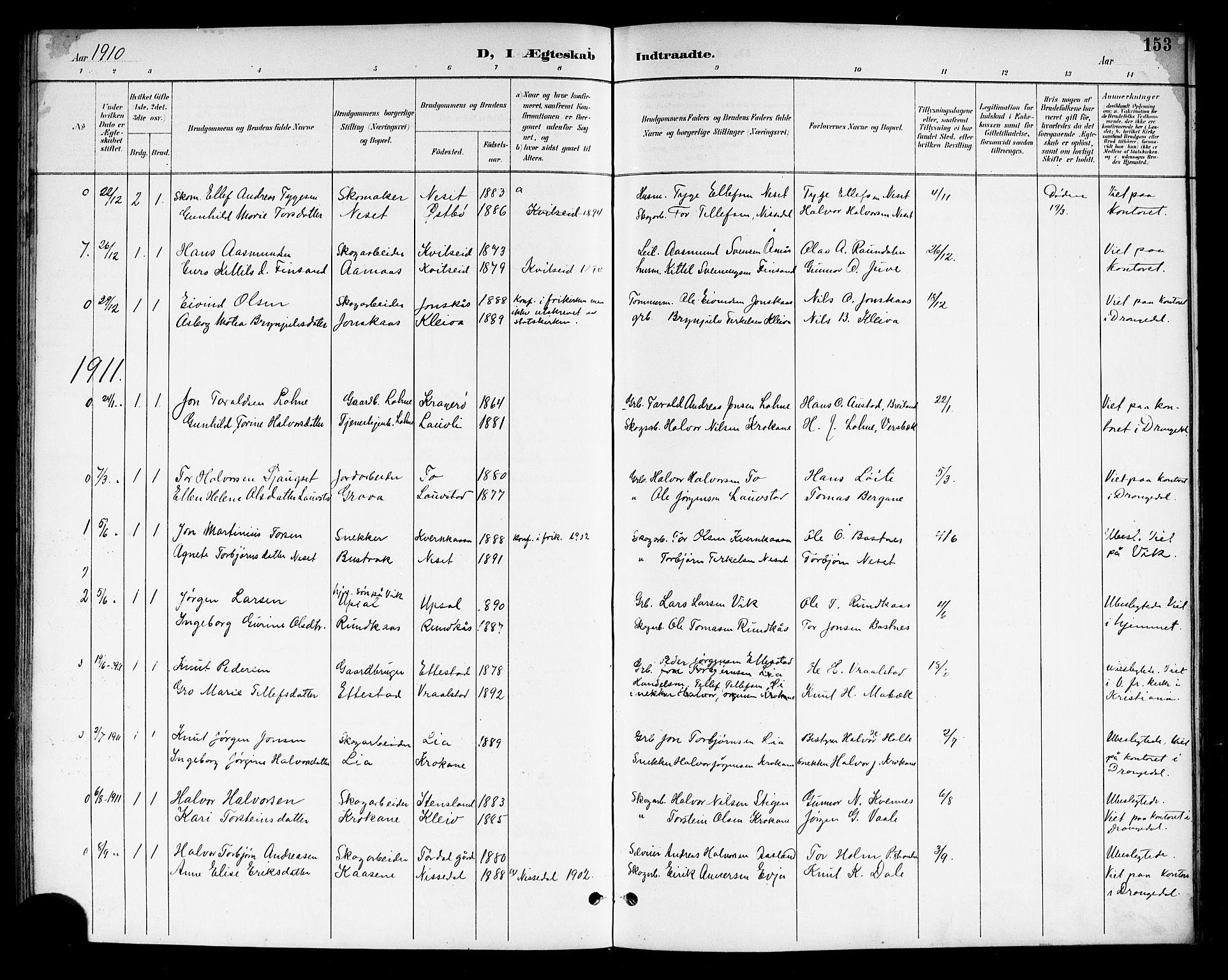SAKO, Drangedal kirkebøker, G/Gb/L0002: Klokkerbok nr. II 2, 1895-1918, s. 153