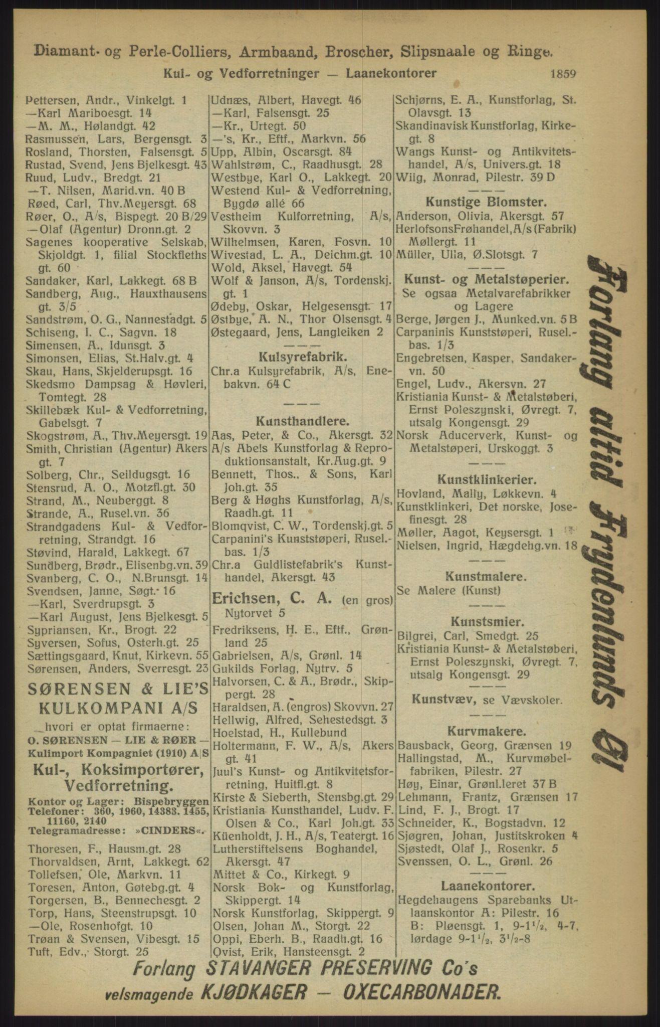 RA, Kristiania adressebok (publikasjon)*, 1915, s. 1859