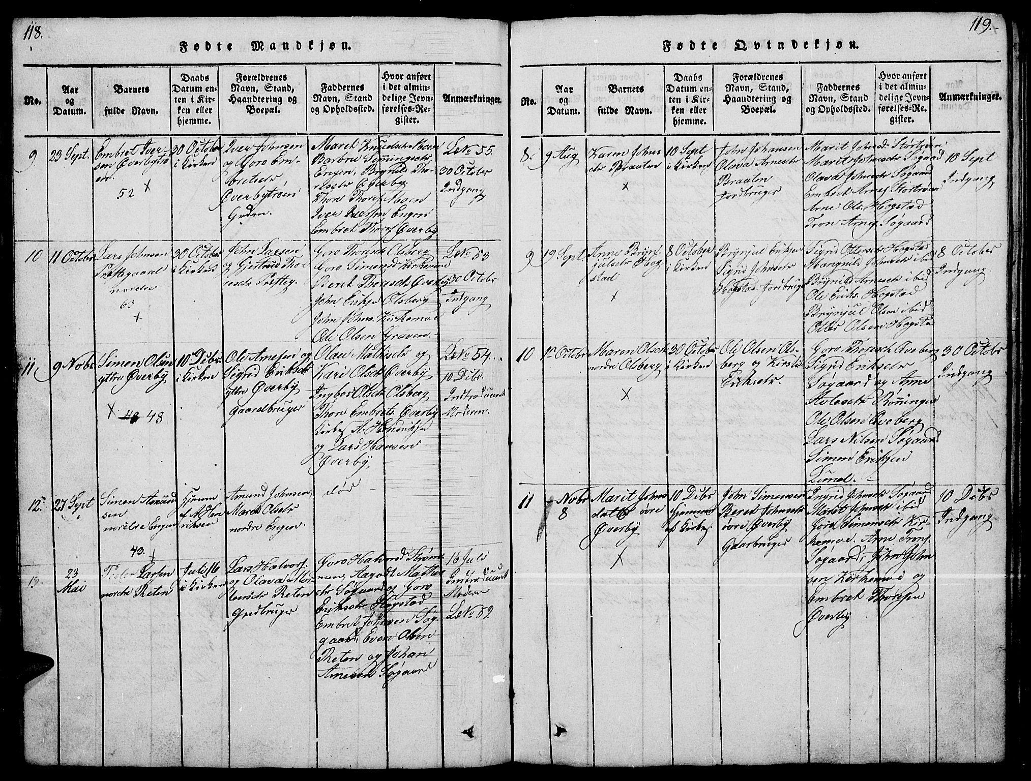 SAH, Tynset prestekontor, Klokkerbok nr. 4, 1814-1879, s. 118-119
