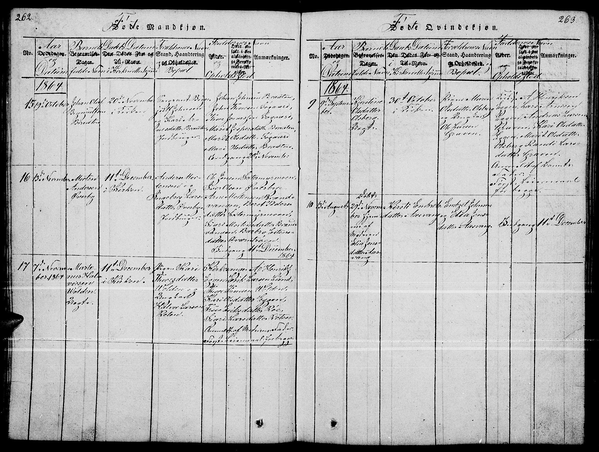 SAH, Tynset prestekontor, Klokkerbok nr. 4, 1814-1879, s. 262-263