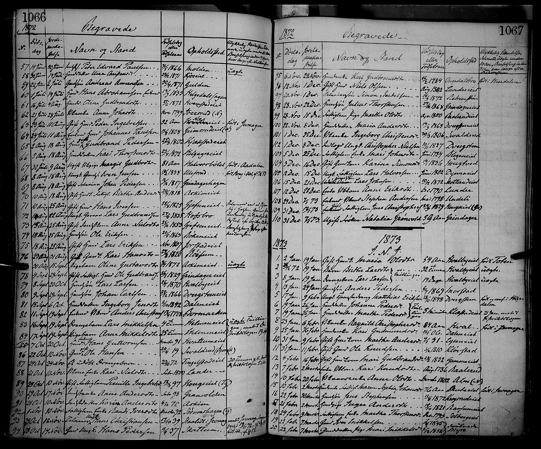 SAH, Gran prestekontor, Ministerialbok nr. 12, 1856-1874, s. 1066-1067