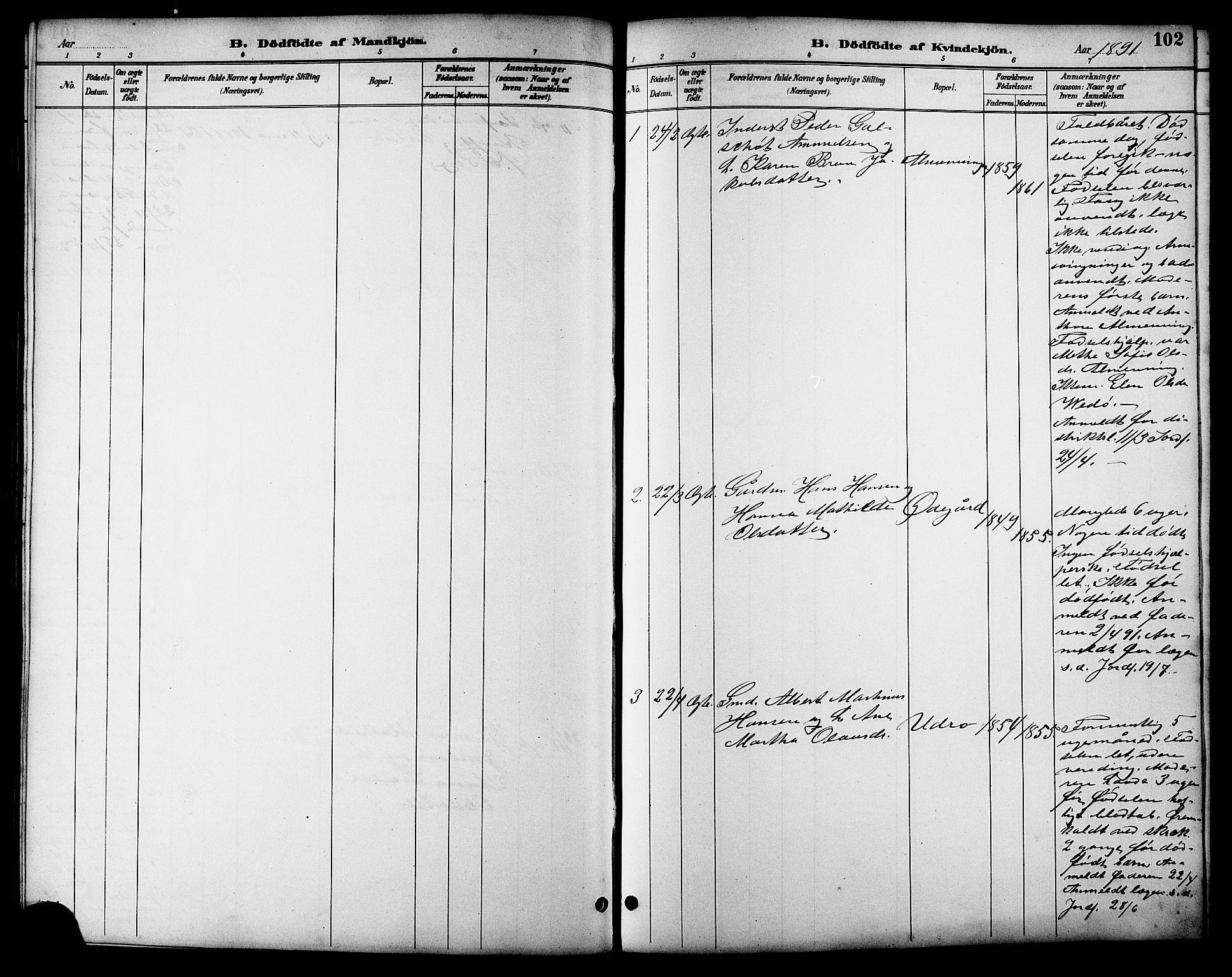SAT, Ministerialprotokoller, klokkerbøker og fødselsregistre - Sør-Trøndelag, 657/L0716: Klokkerbok nr. 657C03, 1889-1904, s. 102