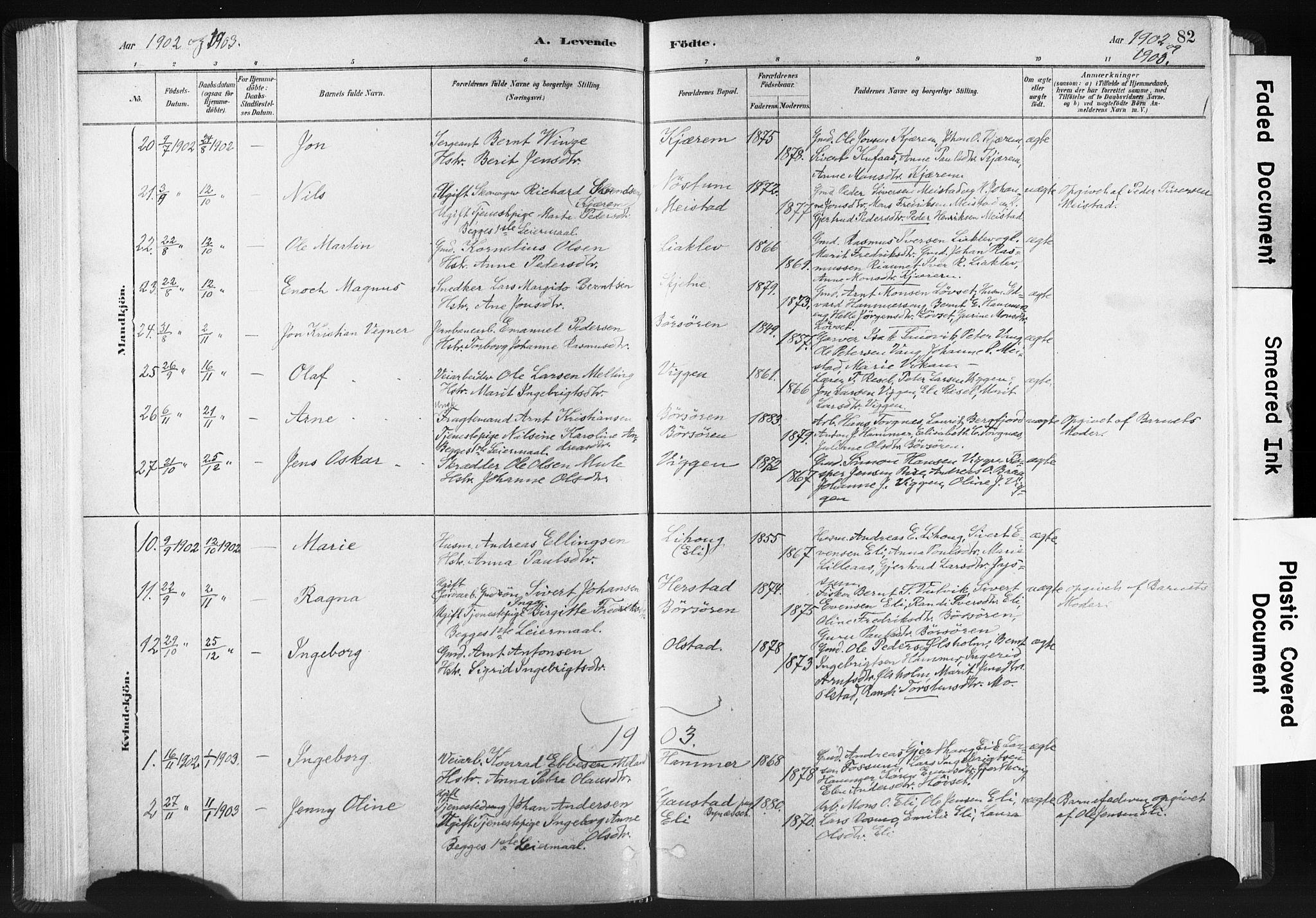SAT, Ministerialprotokoller, klokkerbøker og fødselsregistre - Sør-Trøndelag, 665/L0773: Ministerialbok nr. 665A08, 1879-1905, s. 82
