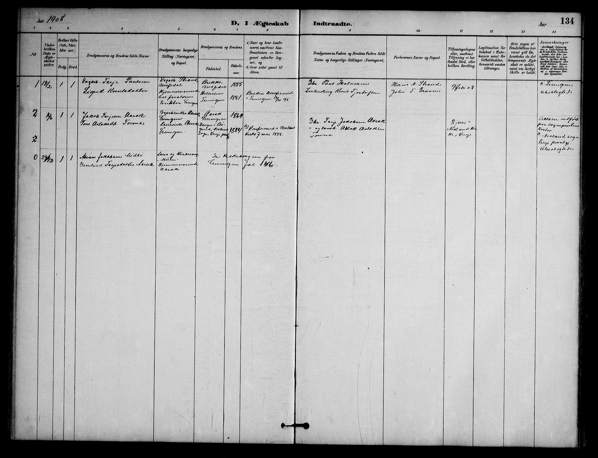 SAKO, Nissedal kirkebøker, G/Ga/L0003: Klokkerbok nr. I 3, 1887-1911, s. 134