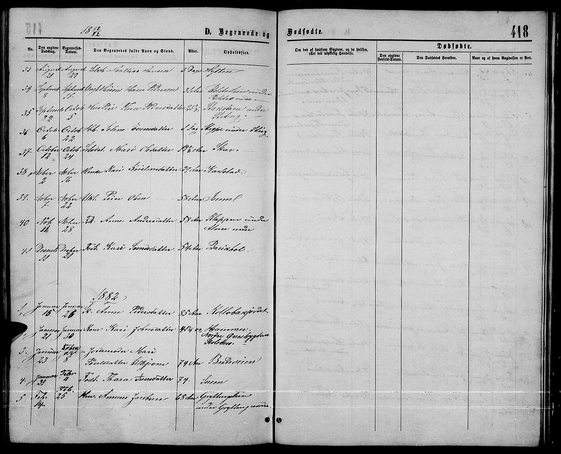 SAH, Sør-Fron prestekontor, H/Ha/Hab/L0002: Klokkerbok nr. 2, 1864-1883, s. 418