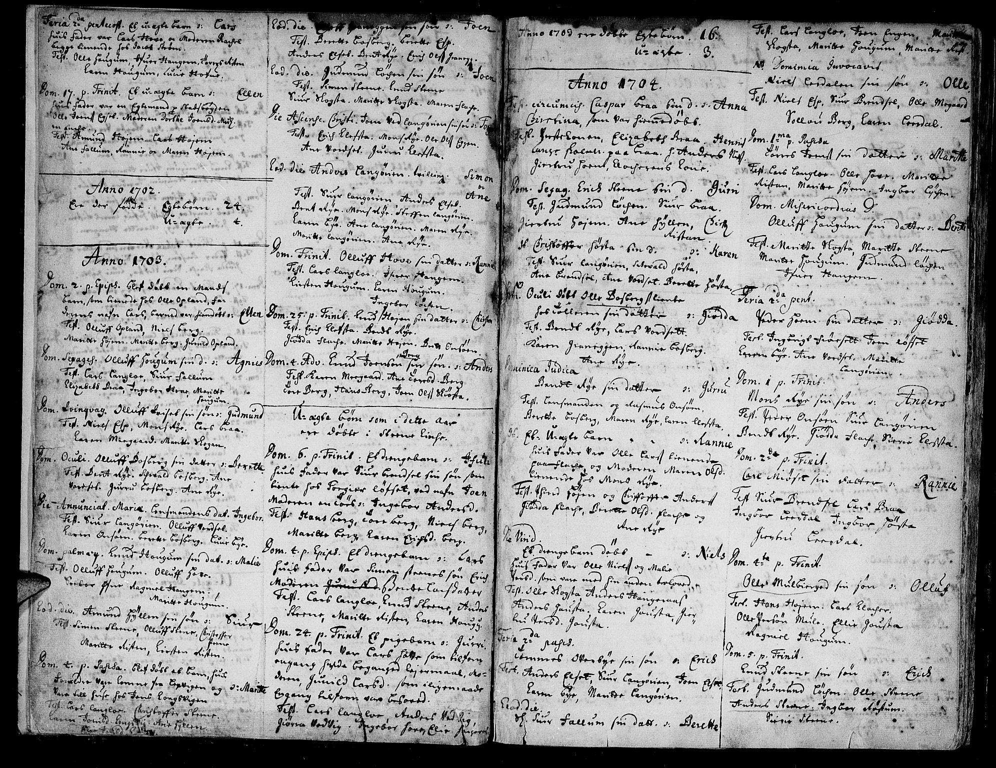 SAT, Ministerialprotokoller, klokkerbøker og fødselsregistre - Sør-Trøndelag, 612/L0368: Ministerialbok nr. 612A02, 1702-1753, s. 2