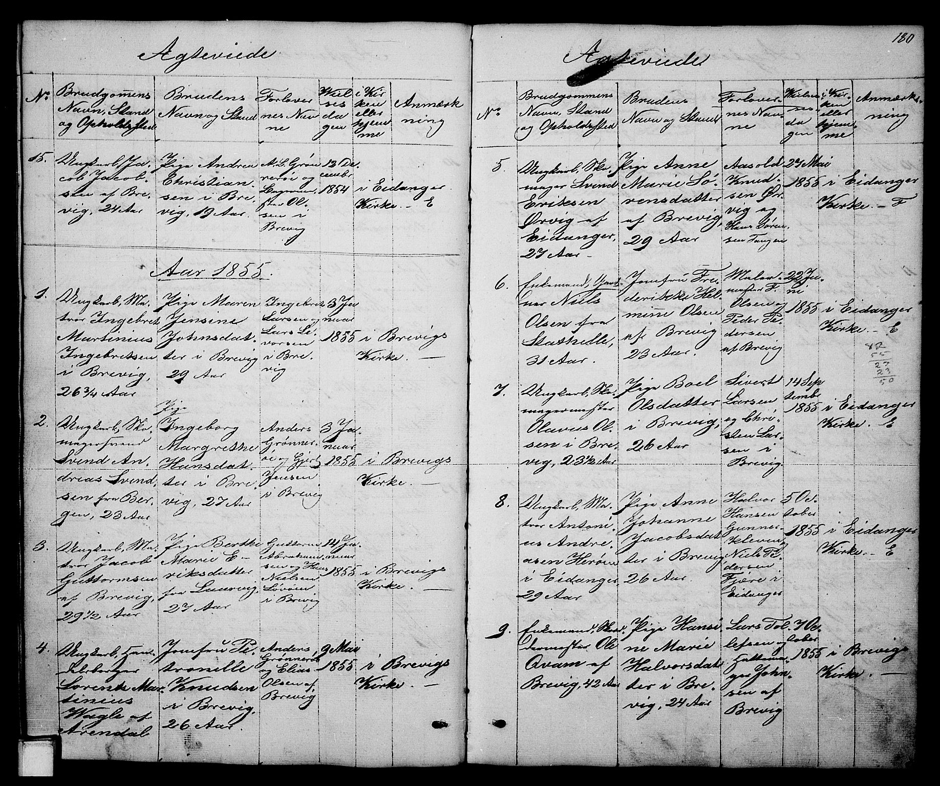 SAKO, Brevik kirkebøker, G/Ga/L0002: Klokkerbok nr. 2, 1846-1865, s. 180