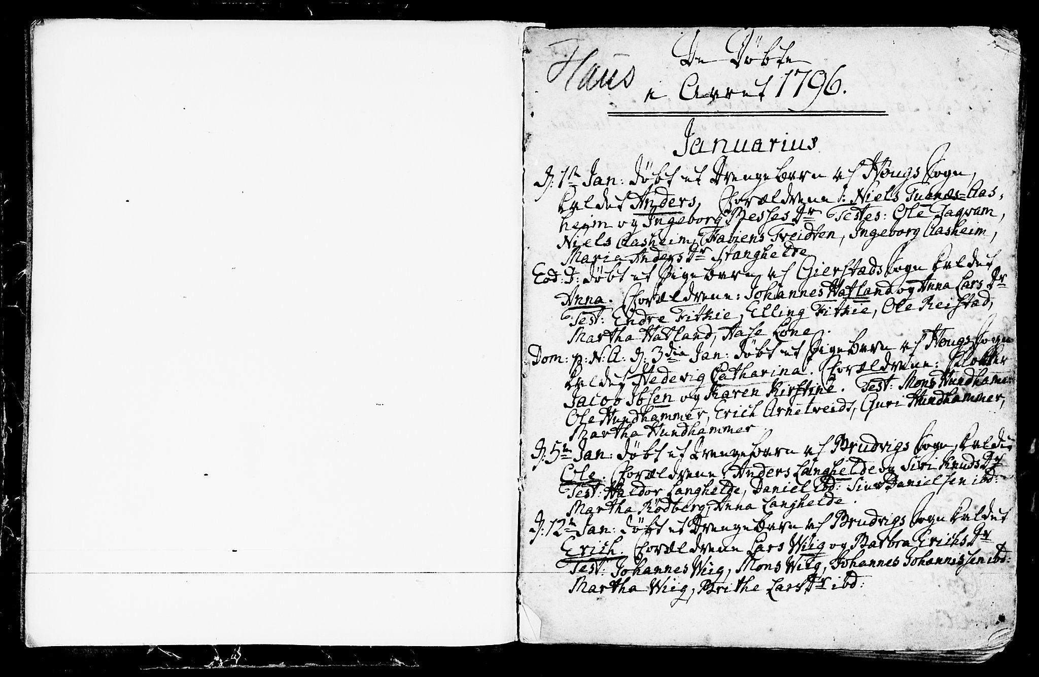 SAB, Haus sokneprestembete, H/Haa: Ministerialbok nr. A 11, 1796-1816, s. 2