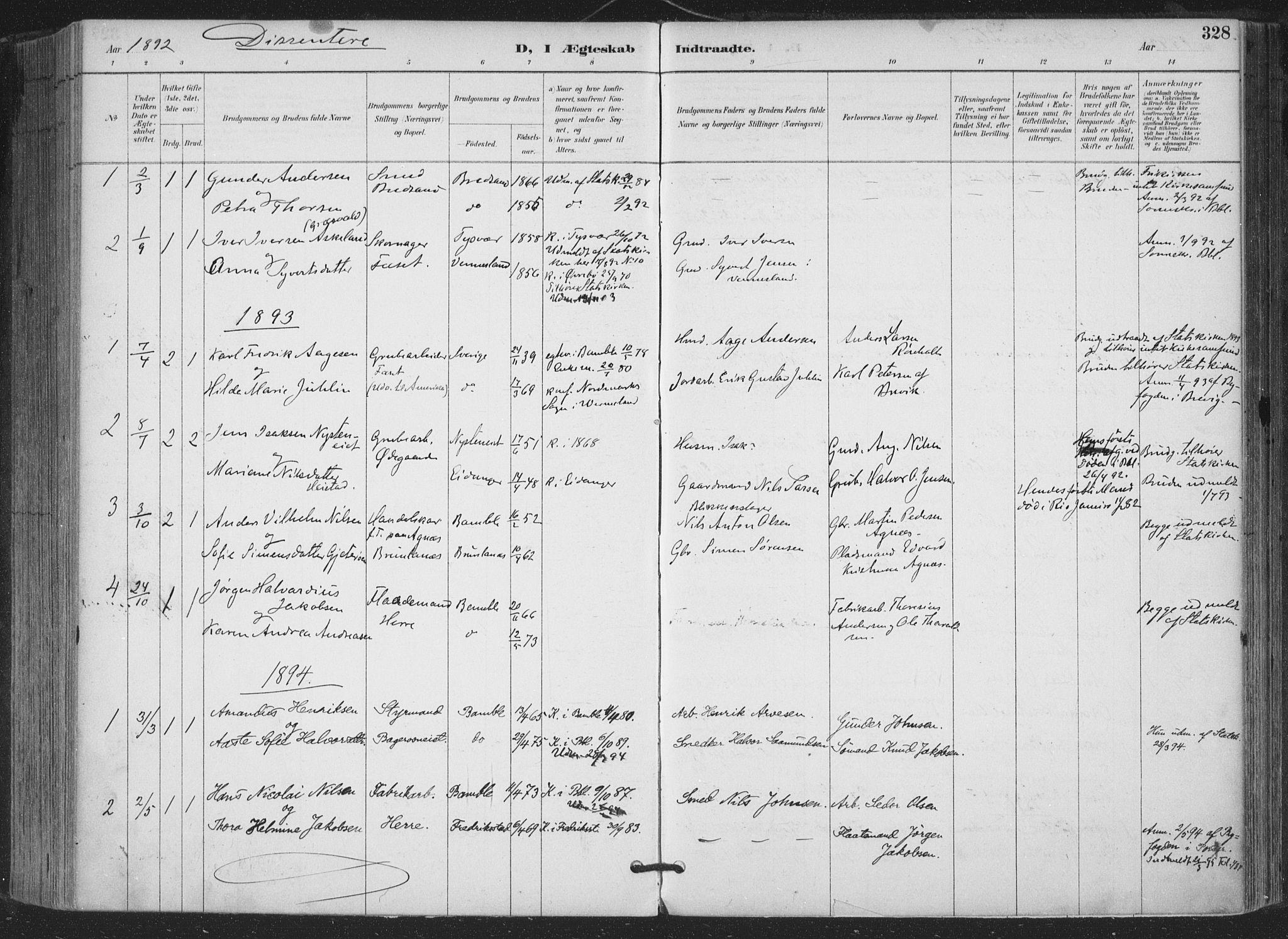 SAKO, Bamble kirkebøker, F/Fa/L0008: Ministerialbok nr. I 8, 1888-1900, s. 328