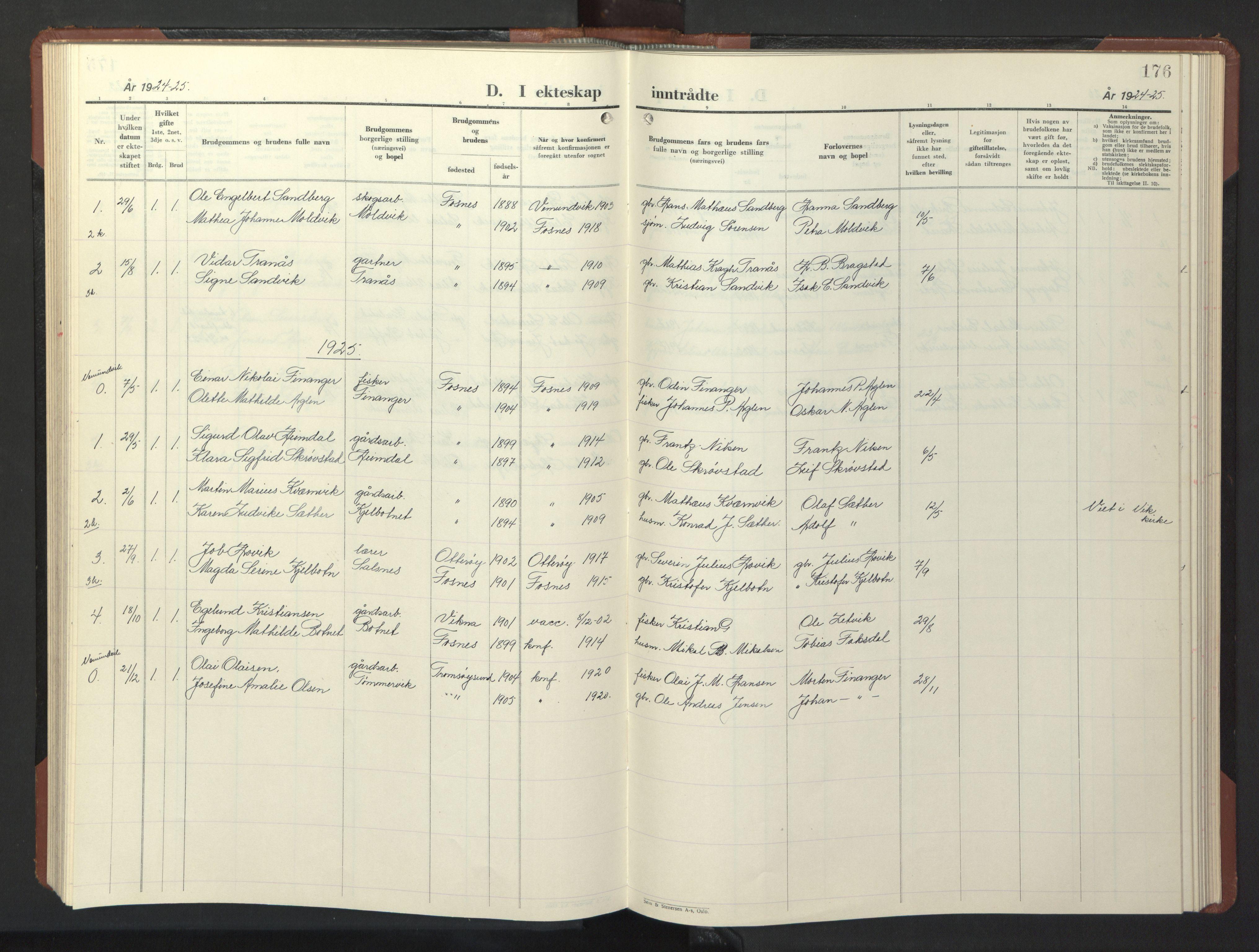 SAT, Ministerialprotokoller, klokkerbøker og fødselsregistre - Nord-Trøndelag, 773/L0625: Klokkerbok nr. 773C01, 1910-1952, s. 176
