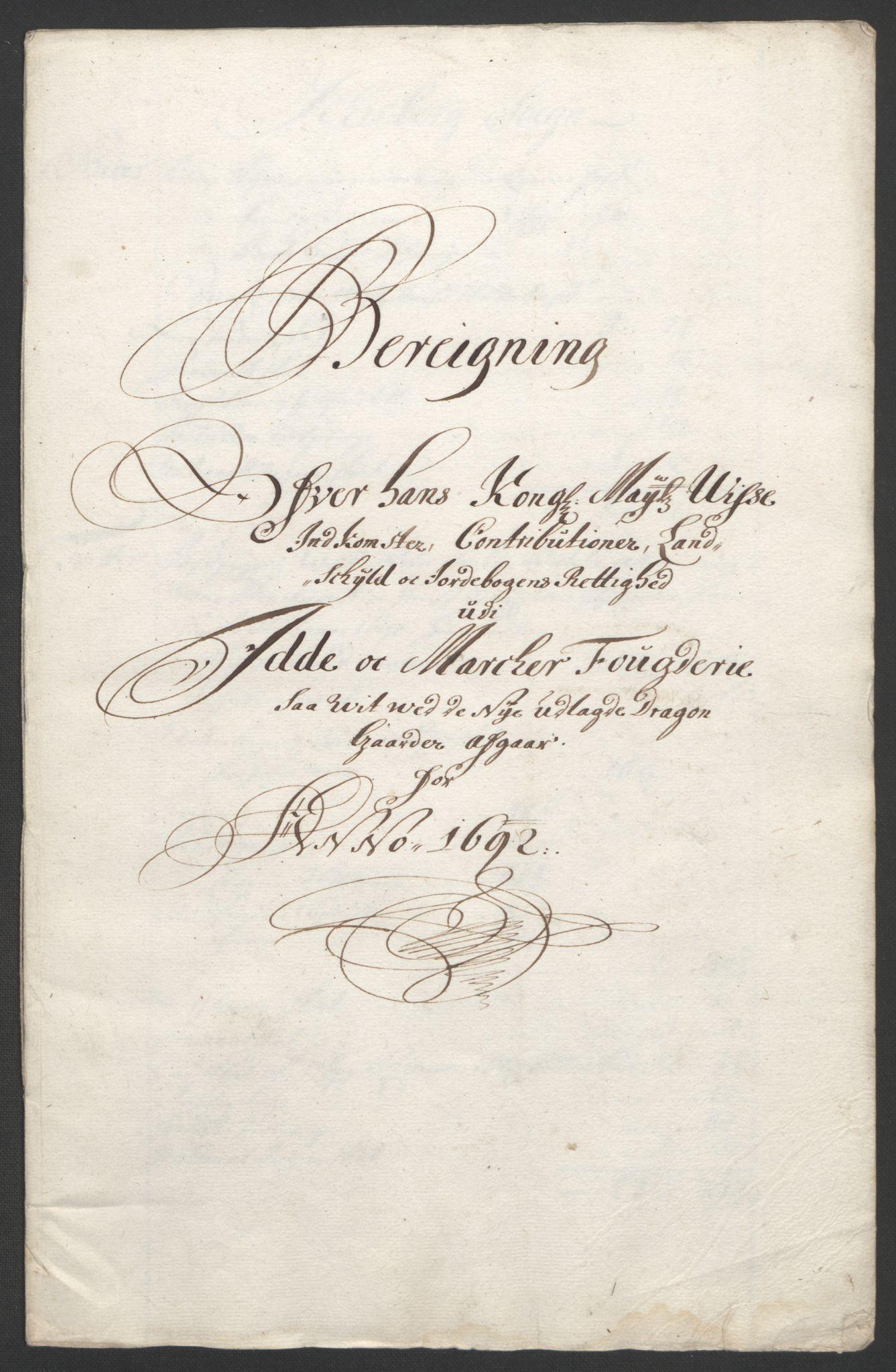 RA, Rentekammeret inntil 1814, Reviderte regnskaper, Fogderegnskap, R01/L0011: Fogderegnskap Idd og Marker, 1692-1693, s. 123