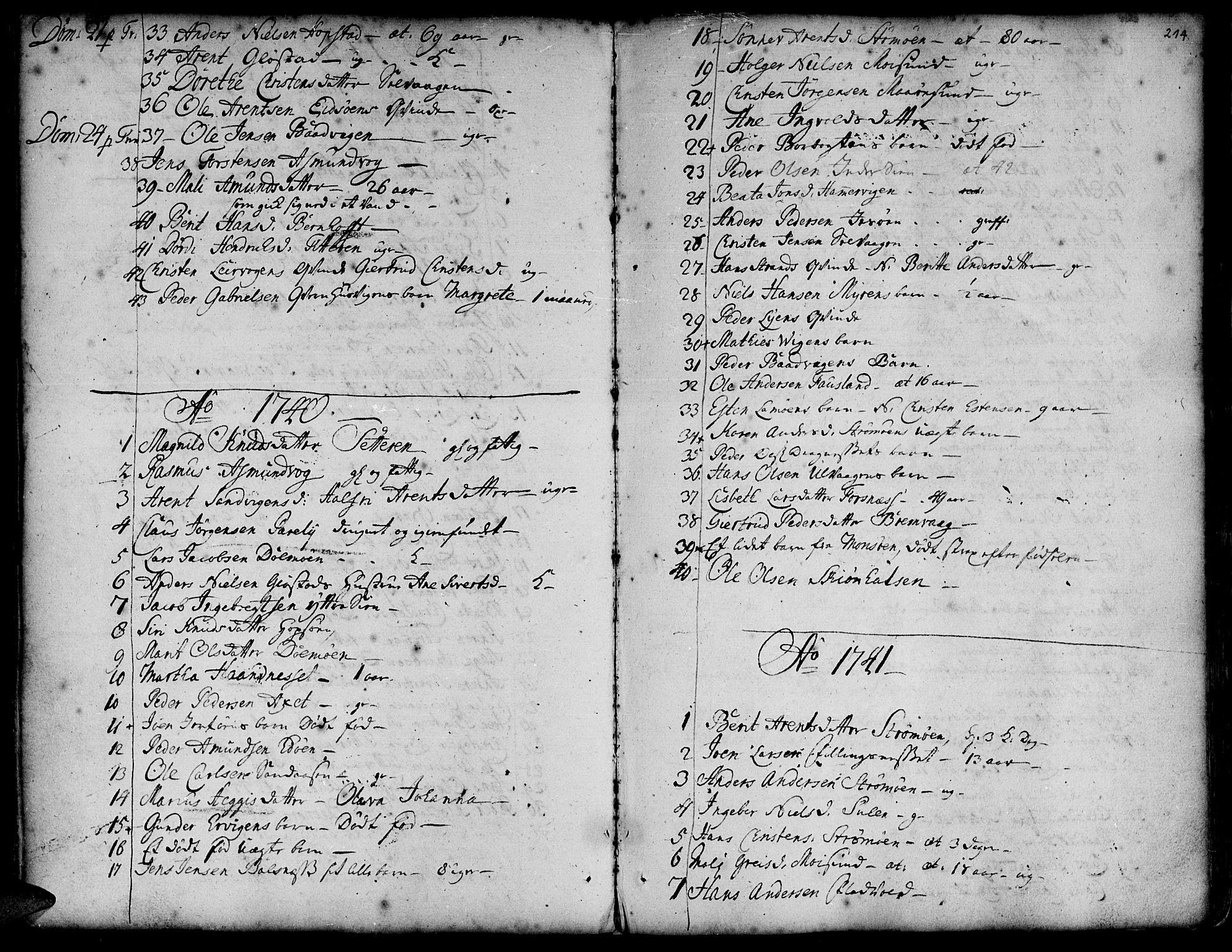SAT, Ministerialprotokoller, klokkerbøker og fødselsregistre - Sør-Trøndelag, 634/L0525: Ministerialbok nr. 634A01, 1736-1775, s. 214