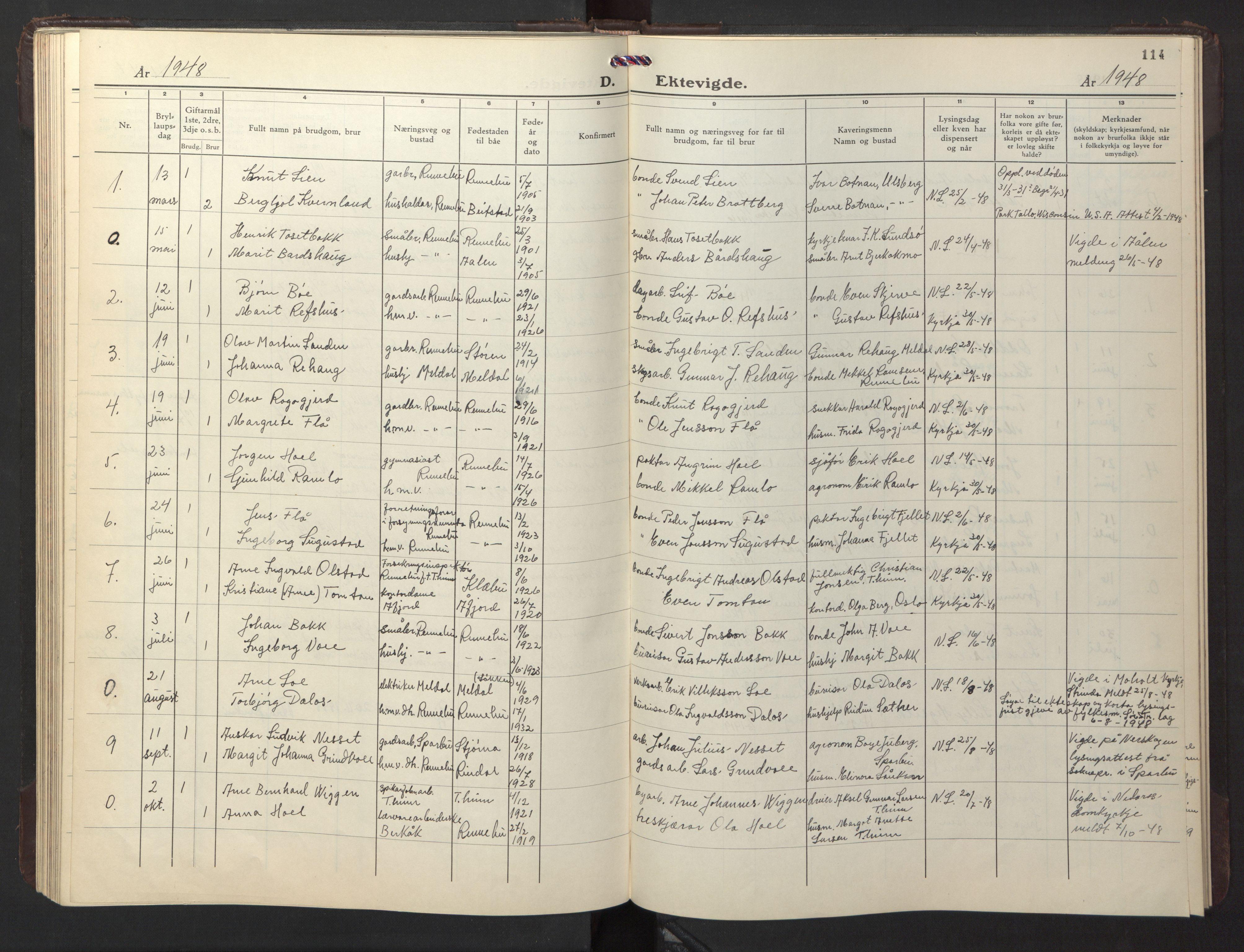 SAT, Ministerialprotokoller, klokkerbøker og fødselsregistre - Sør-Trøndelag, 674/L0878: Klokkerbok nr. 674C05, 1941-1950, s. 114