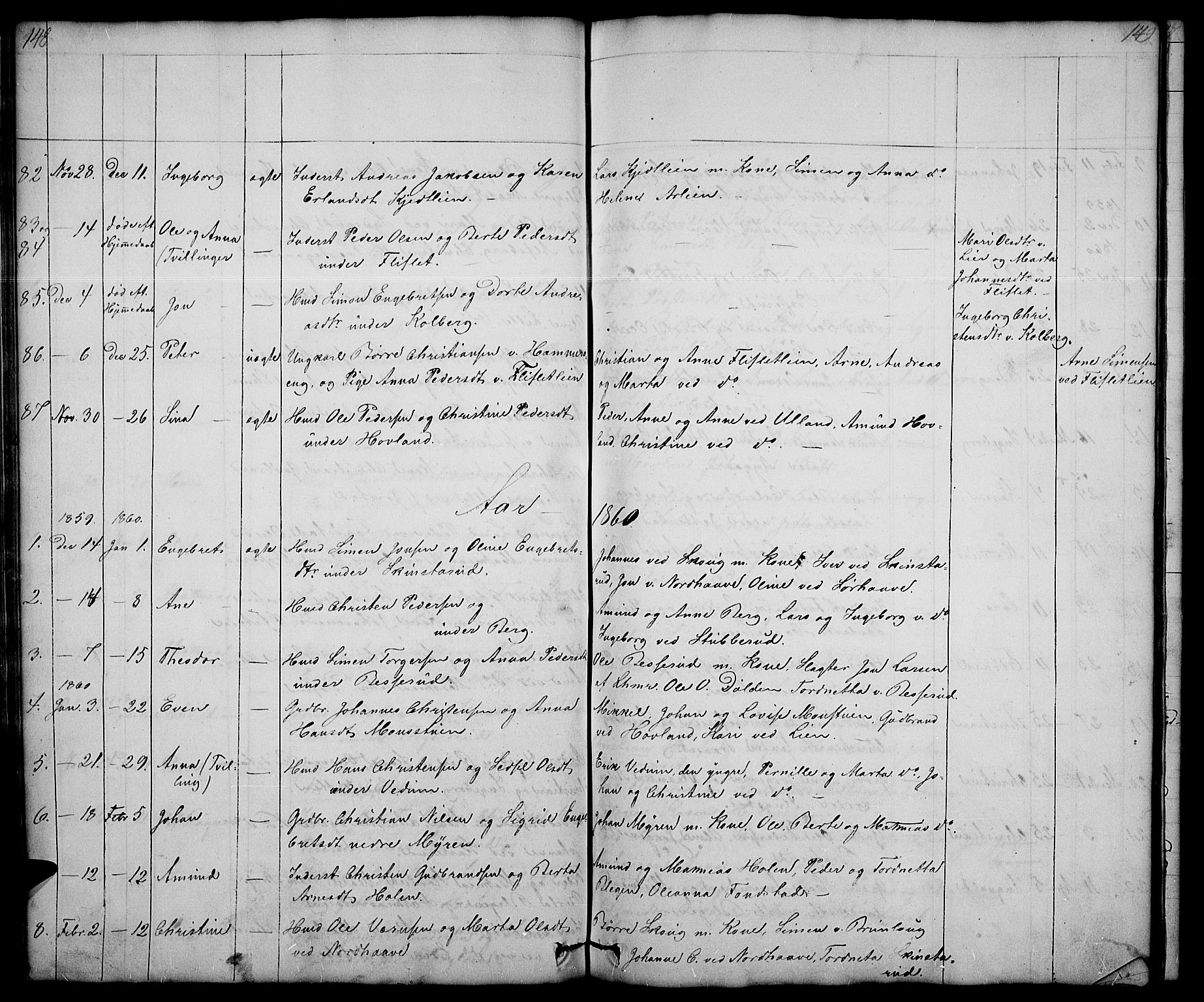 SAH, Fåberg prestekontor, Klokkerbok nr. 5, 1837-1864, s. 148-149