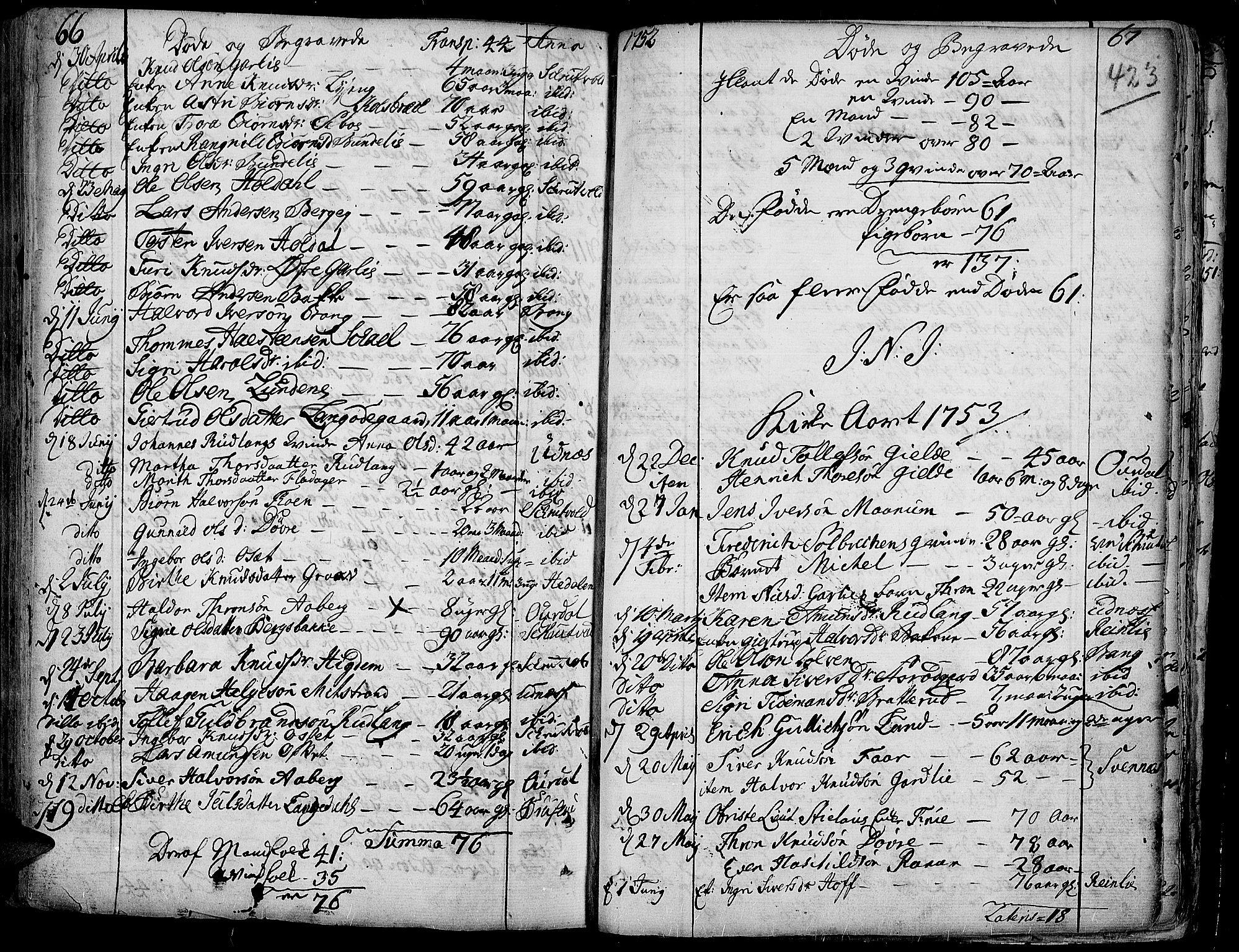 SAH, Aurdal prestekontor, Ministerialbok nr. 4, 1730-1762, s. 66-67