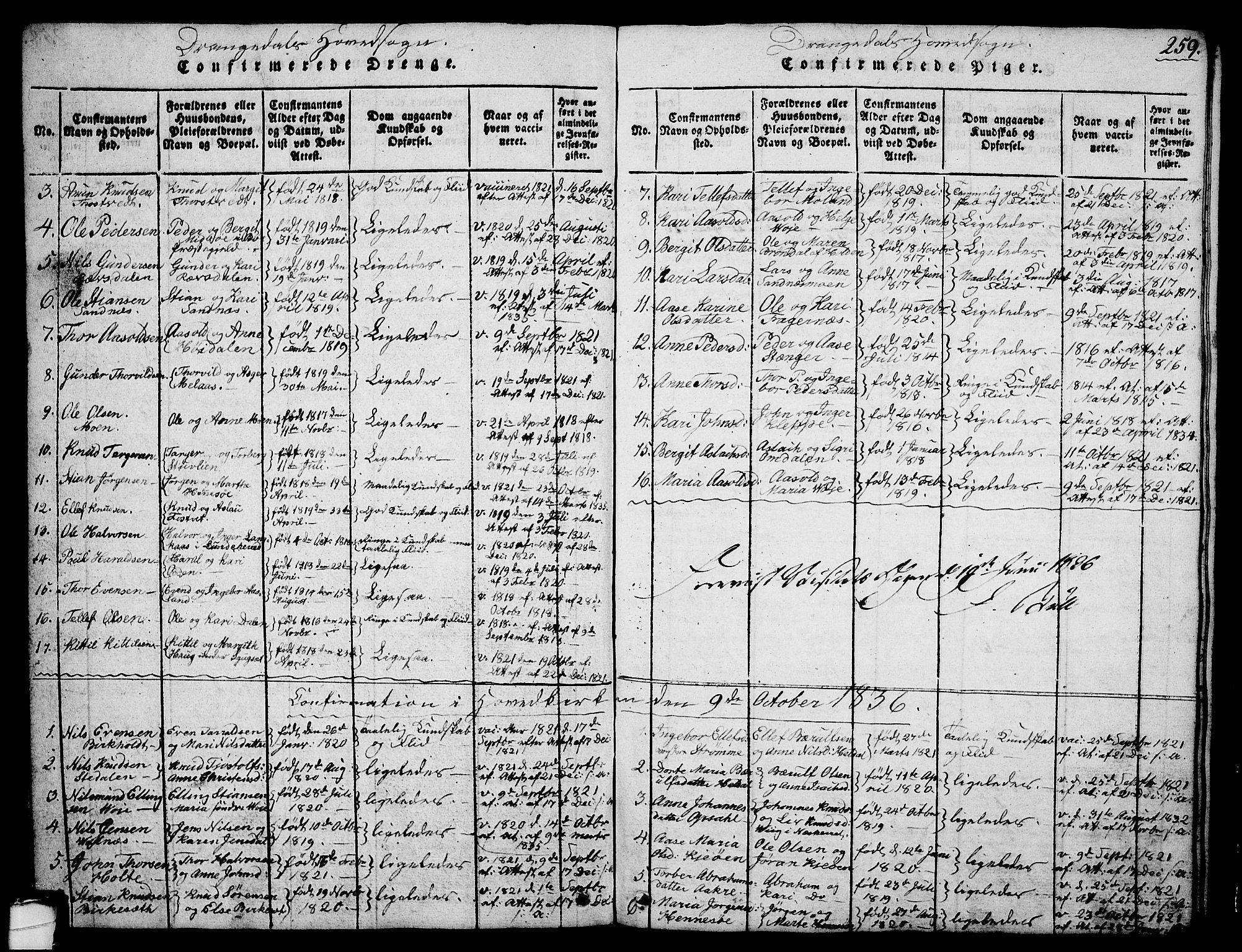 SAKO, Drangedal kirkebøker, G/Ga/L0001: Klokkerbok nr. I 1 /1, 1814-1856, s. 259