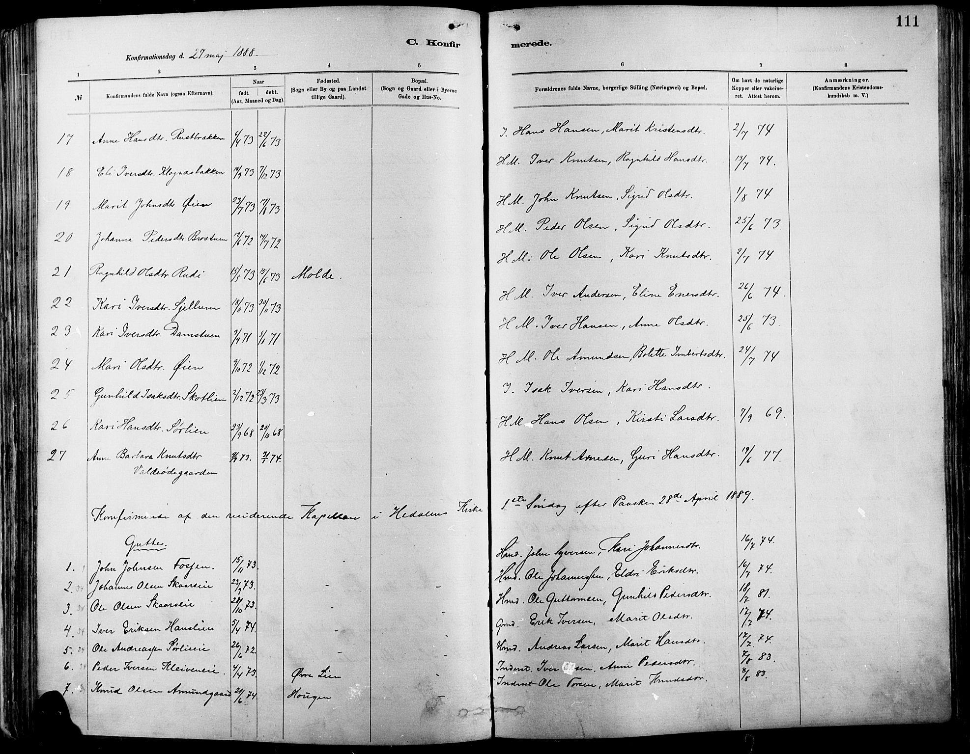 SAH, Vågå prestekontor, Ministerialbok nr. 9, 1886-1904, s. 111