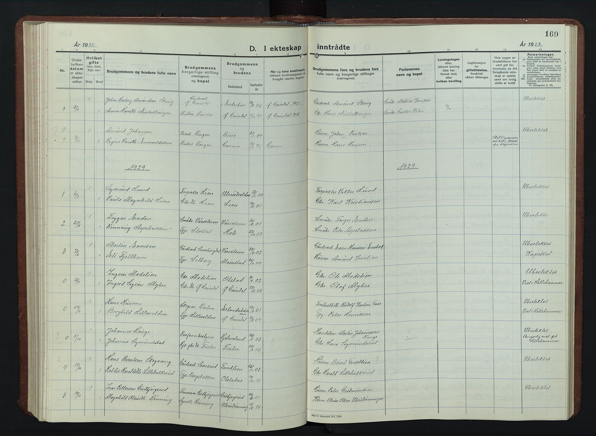 SAH, Vestre Gausdal prestekontor, Klokkerbok nr. 5, 1926-1955, s. 169